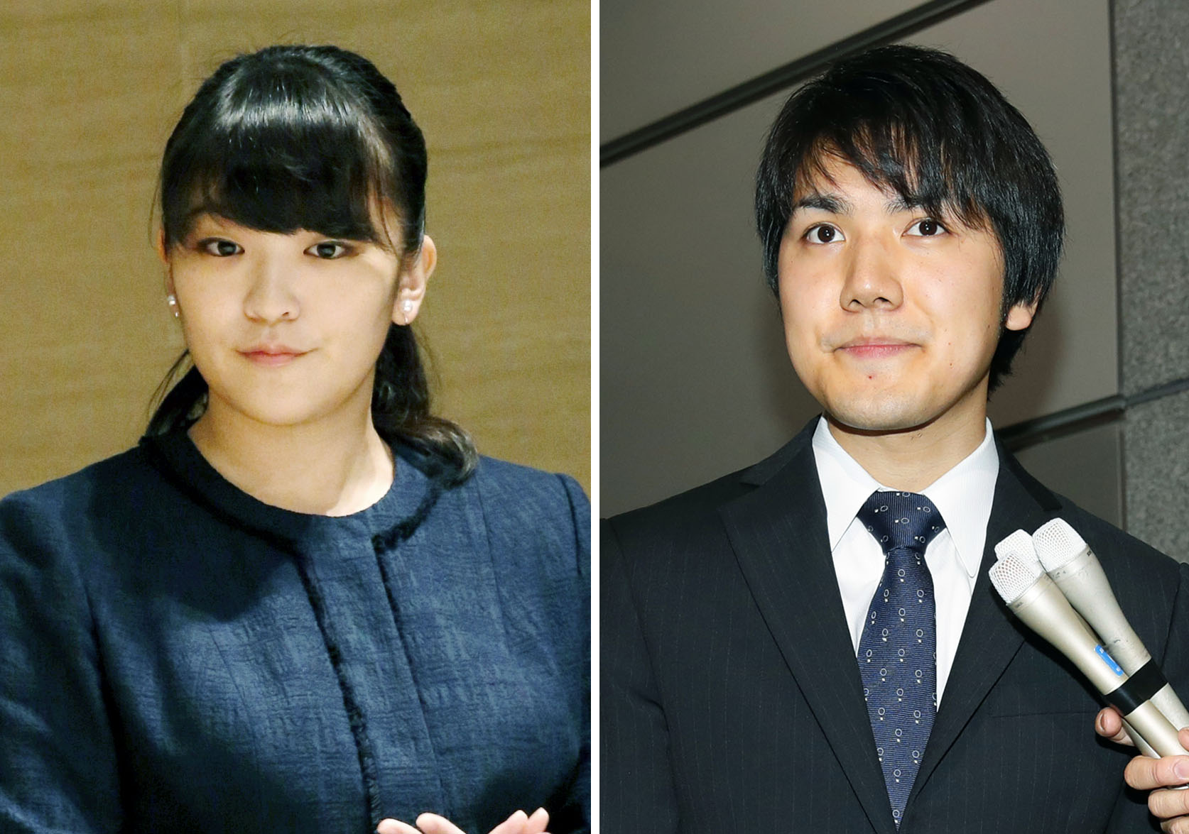 Combined photo shows Japan's Princess Mako (L), and soon-to-be fiance Kei Komuro.
