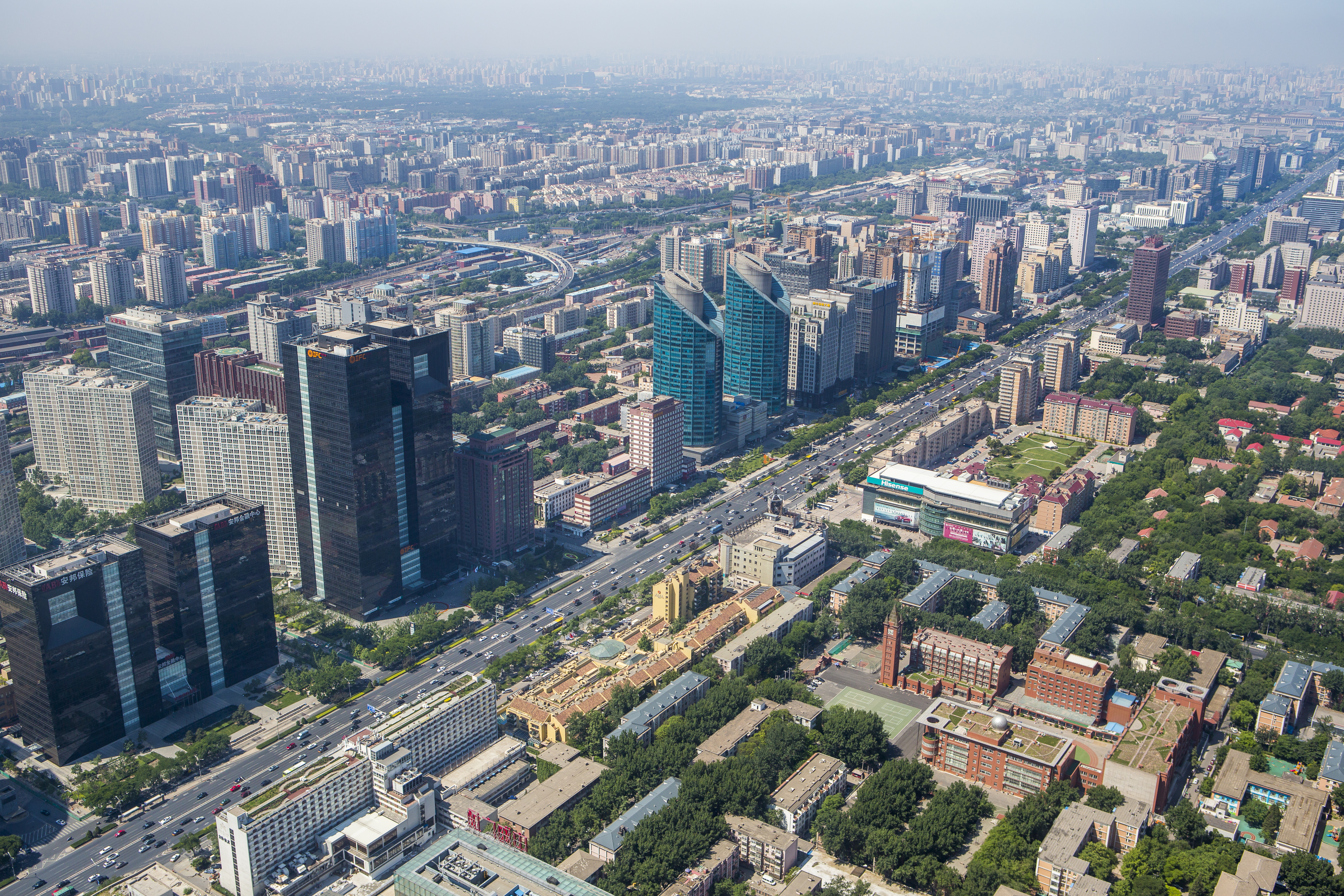 Asia, China, Beijing, Aerial view of Jianguomen Avenue in Beijing. (Photo by: JTB Photo/UIG via Getty Images)