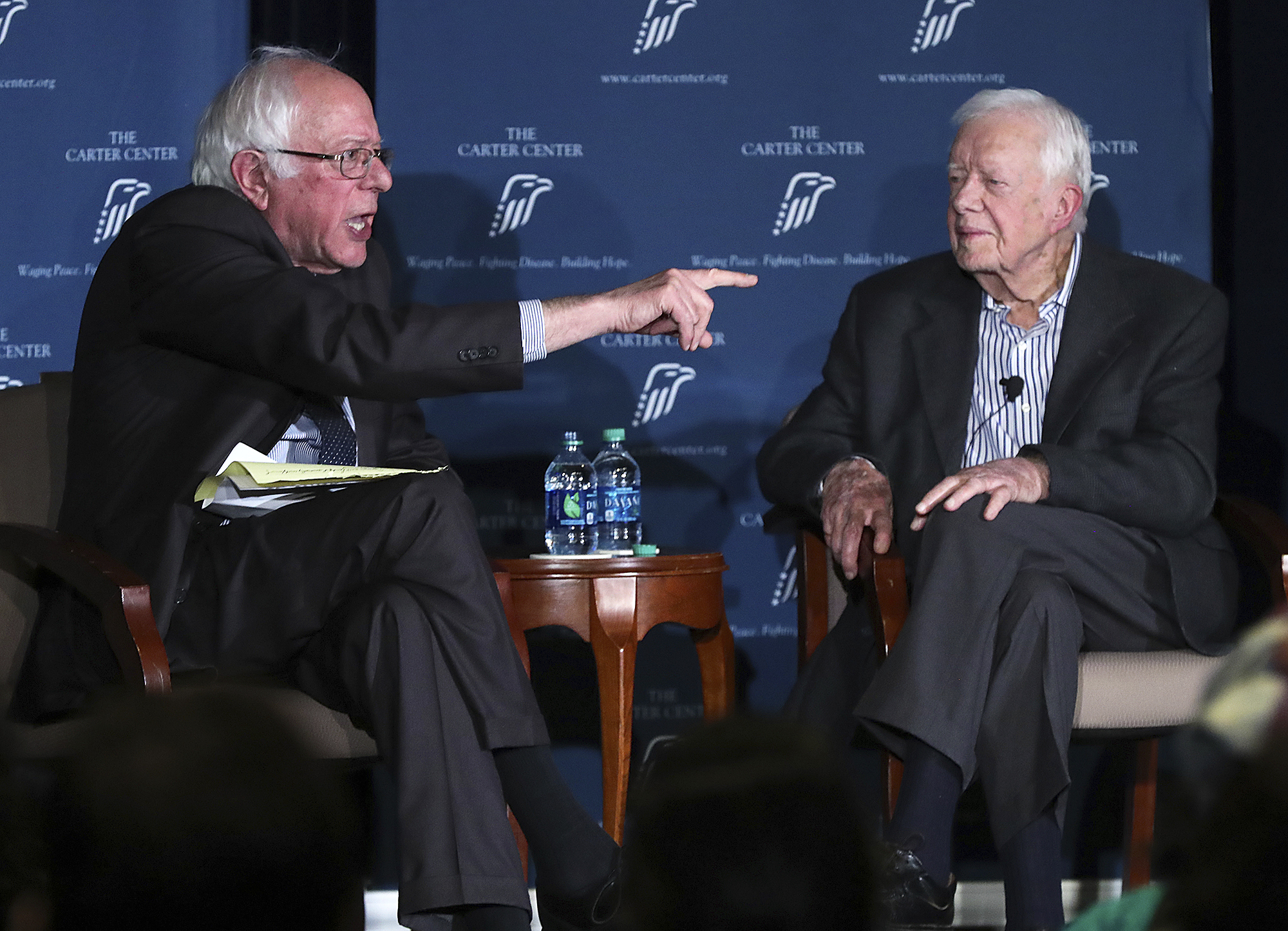 Sen. Bernie Sanders and Former President Jimmy Carter discuss human rights during the Human Rights Defenders Forum in Atlanta, Ga., on May 8, 2017.