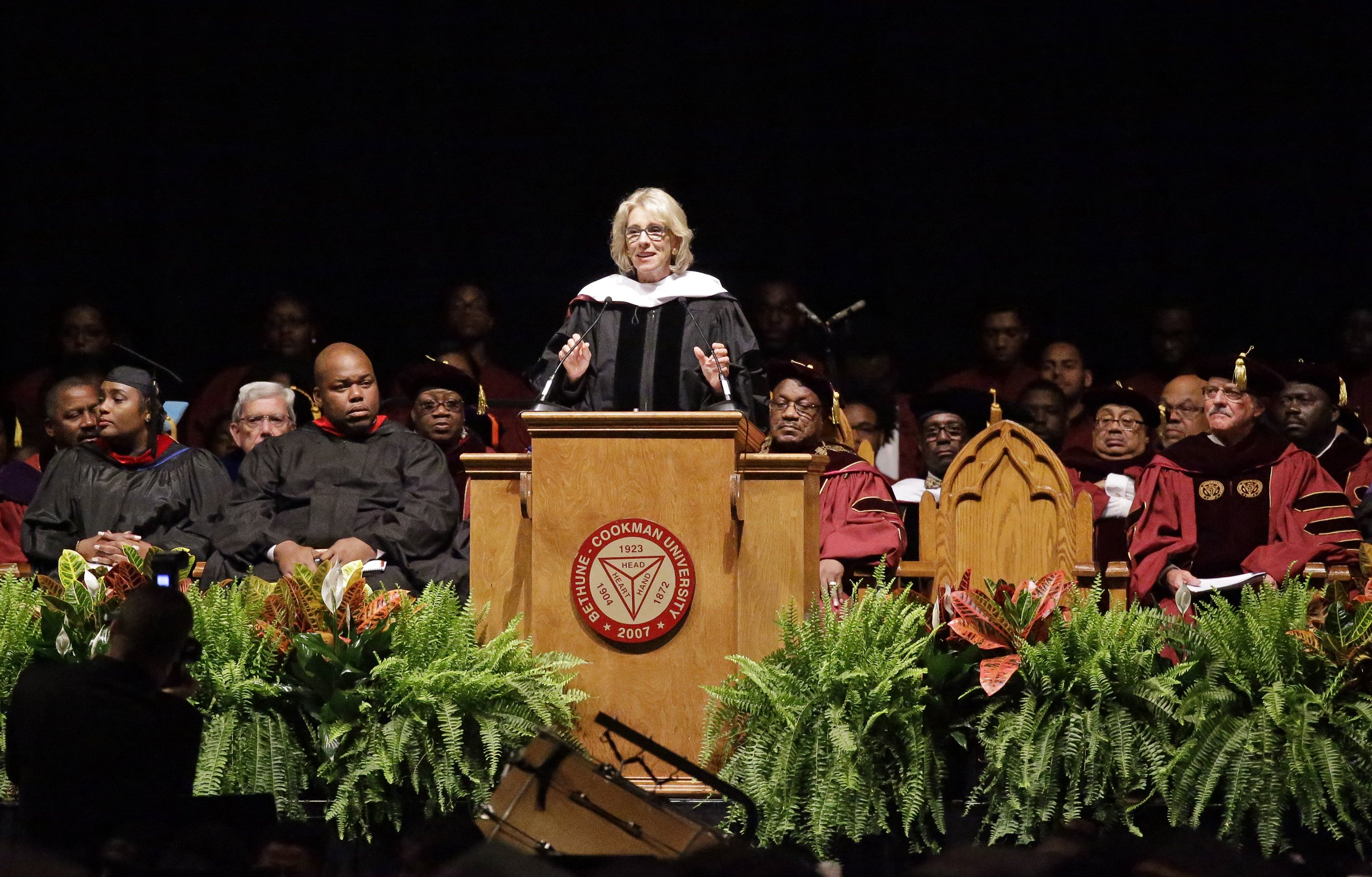 Education Secretary Betsy DeVos delivers a commencement address to graduates at Bethune-Cookman University on May 10, 2017, in Daytona Beach, Fla.