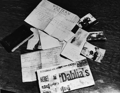 Evidence concerning the murder Elizabeth Short, known as the 'Black Dahlia.'