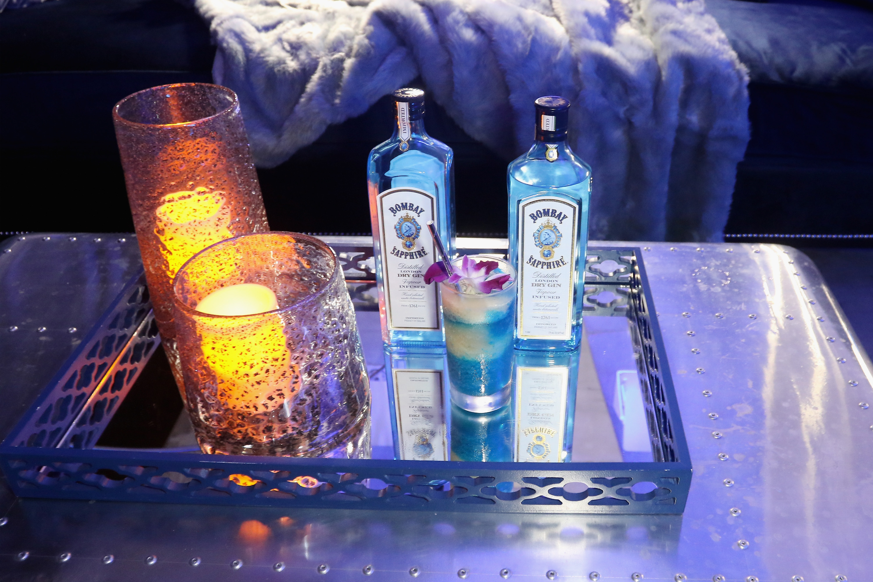 MIAMI, FL - DECEMBER 01:  Bombay Sapphire beverages on display during the 7th Annual Bombay Sapphire Artisan Series Finale hosted by Russell and Danny Simmons at 11 11 Road on December 1, 2016