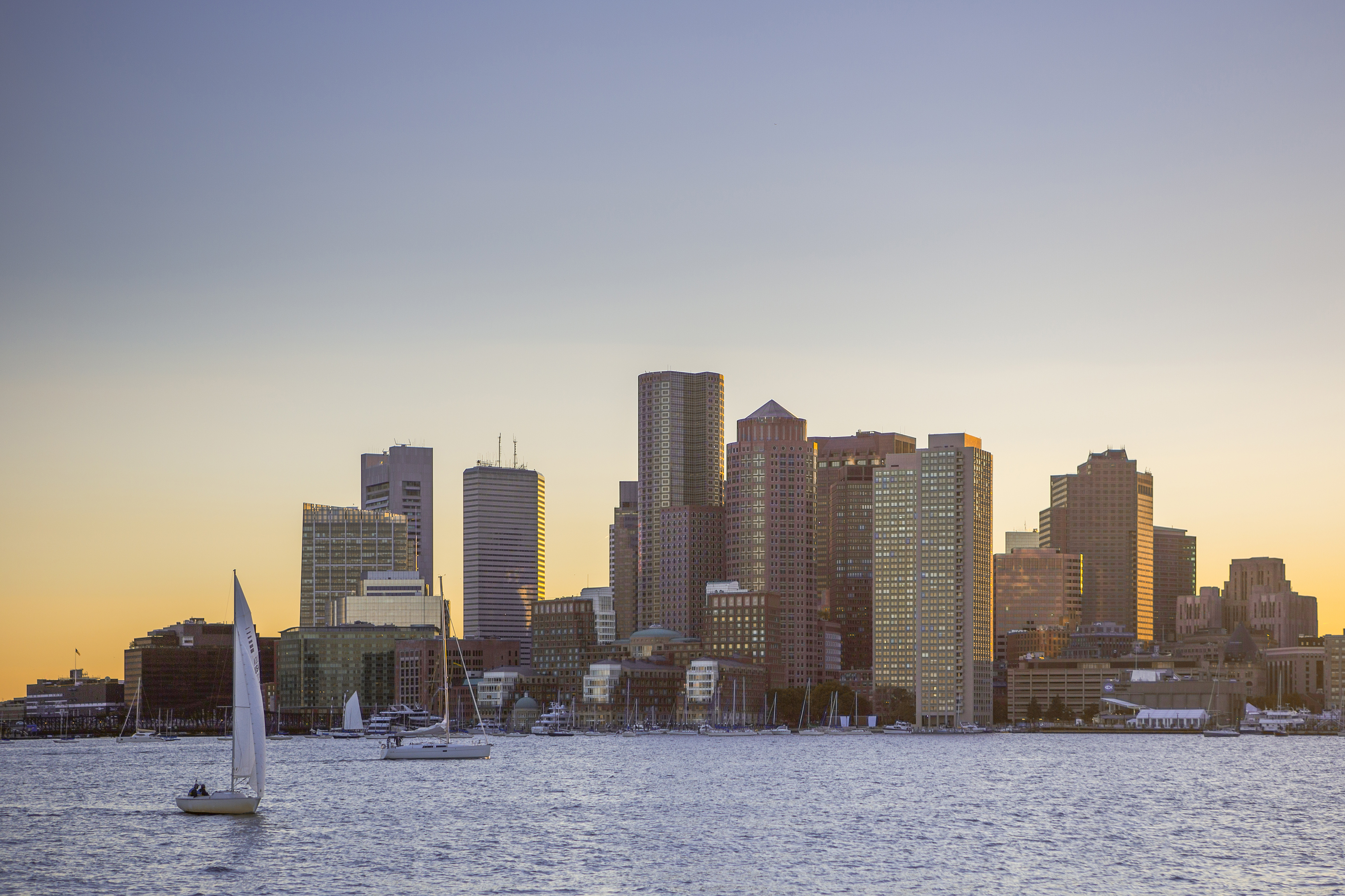 USA, Massachusetts, View of Boston City at sunset. (Photo by: JTB/UIG via Getty Images)