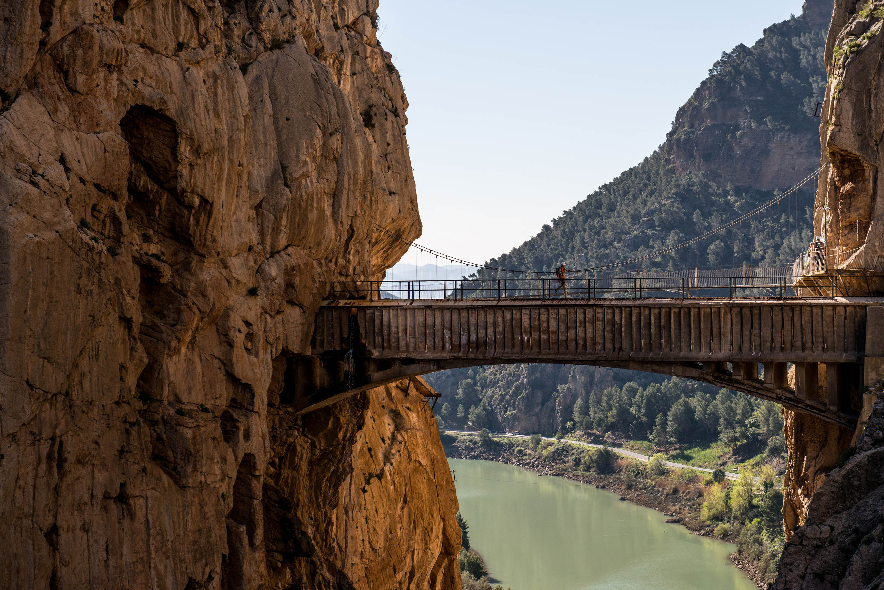 Tourists walk along the 'El Caminito del Rey' (King's Little Path) footpath on April 1, 2015 in Malaga, Spain.