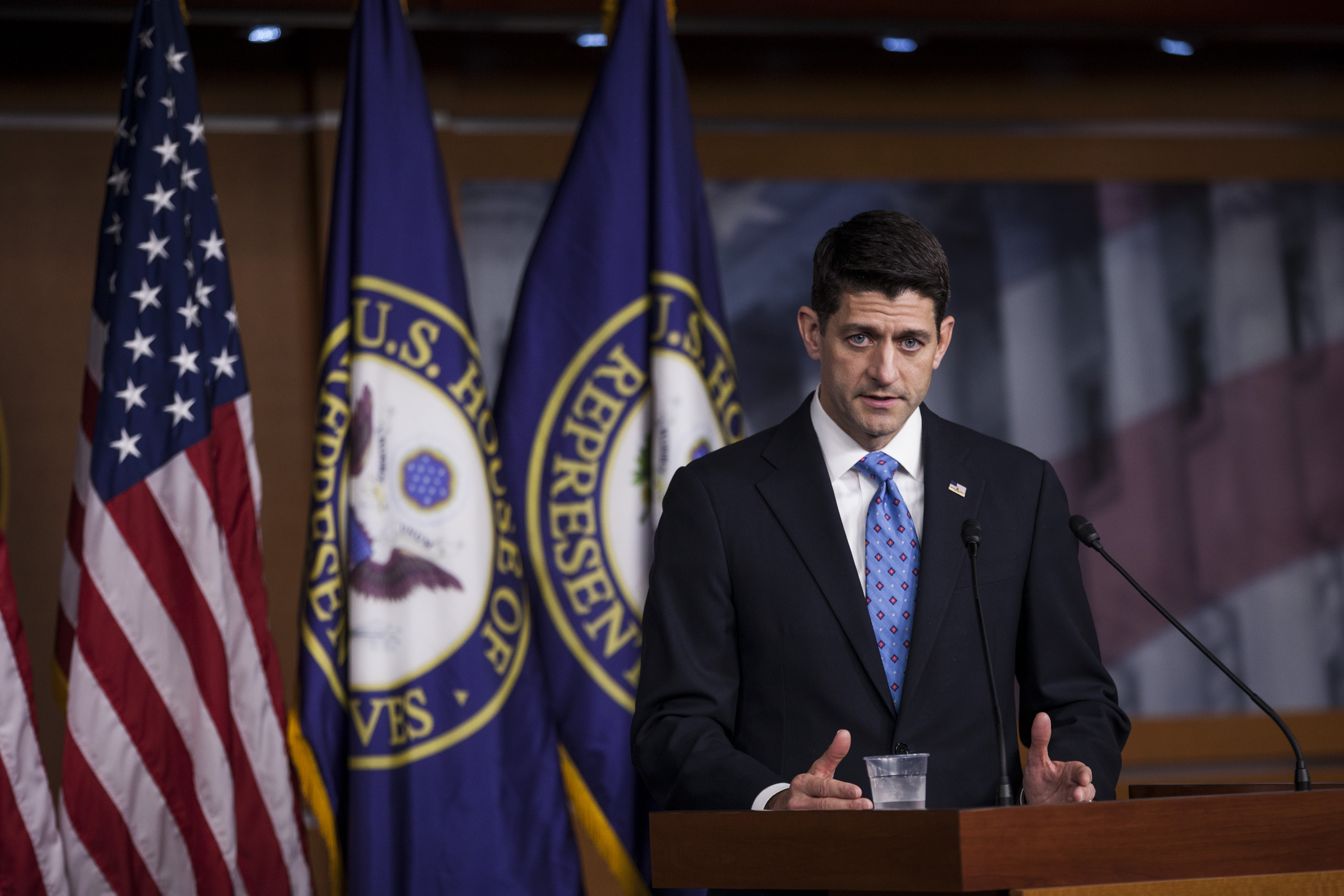 U.S. House Speaker Paul Ryan spoke about the Congressional Budget Office's scoring of the GOP's health-care legislation and the outlook for raising the U.S. debt ceiling.