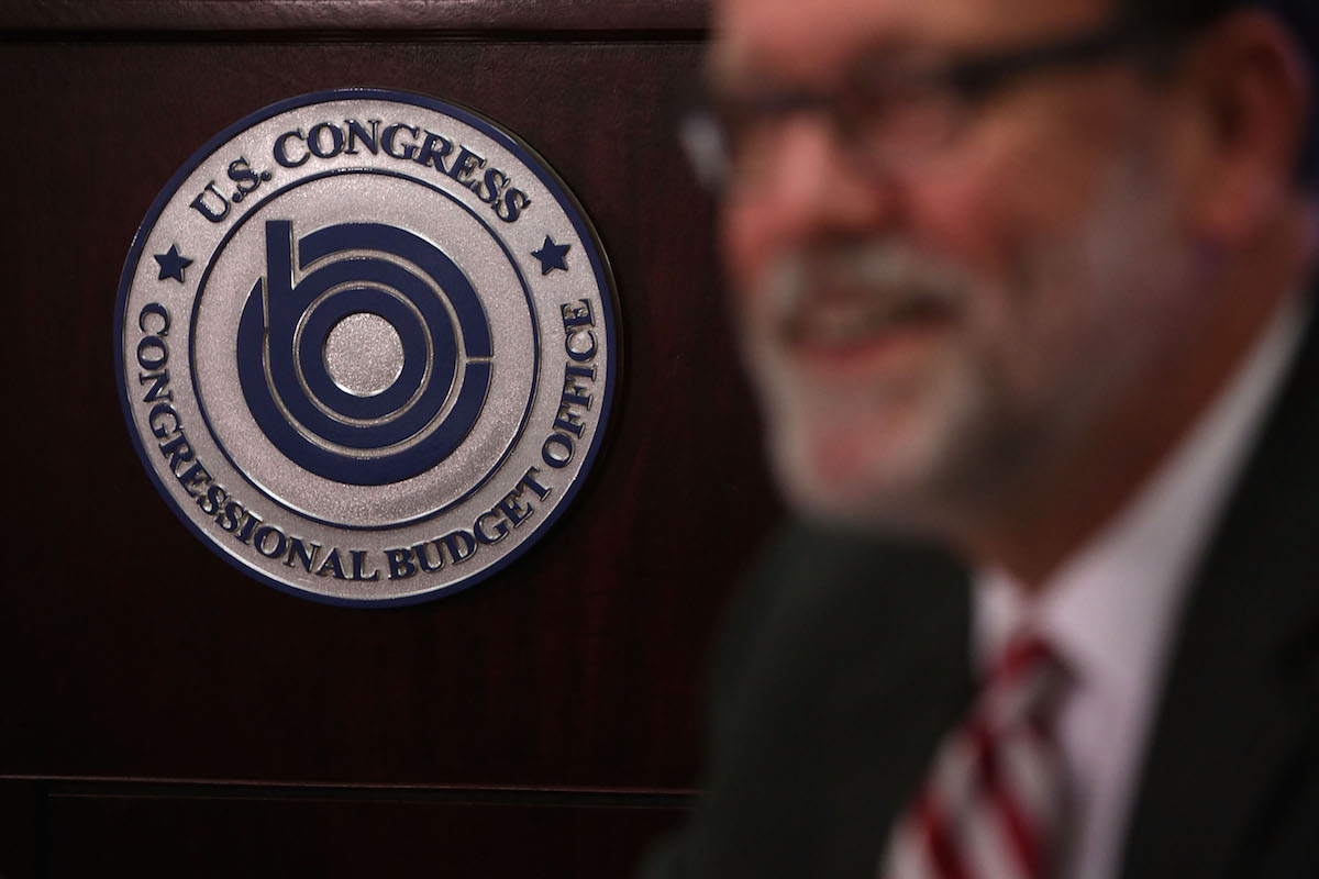 Congressional Budget Office Director Keith Hall speaks to members of the press during a media briefing at the Congressional Budget Office August 25, 2015 in Washington, DC.