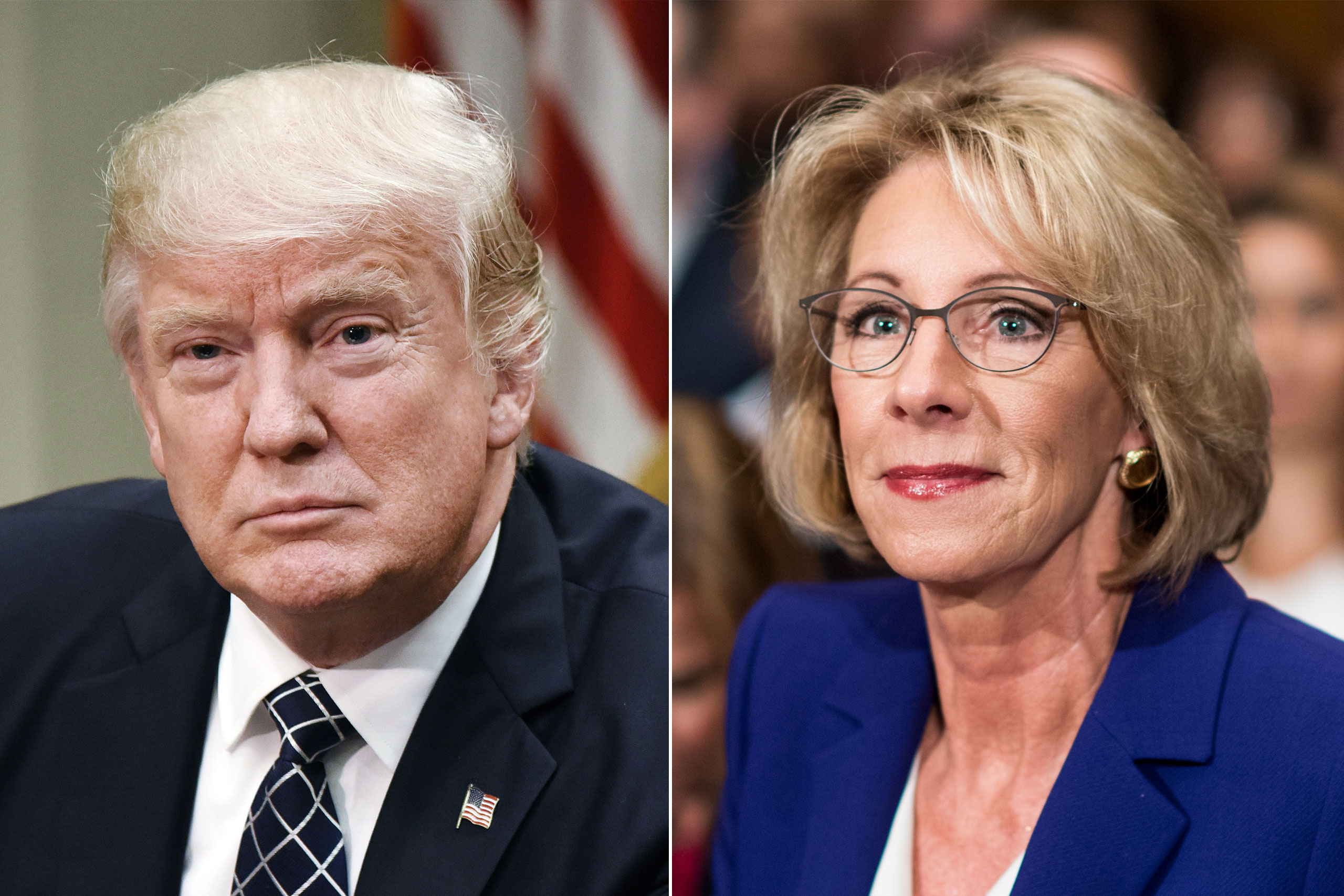 Donald Trump in Washington, DC, on April 25, 2017 (L); Betsy DeVos in Washington, DC, on Jan. 17, 2017.