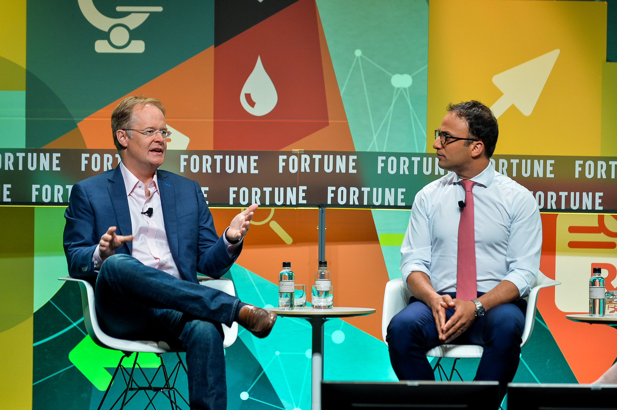 Hill Ferguson (left) and Yonatan Adiri discuss digital health care at Fortune's Brainstorm Health conference.