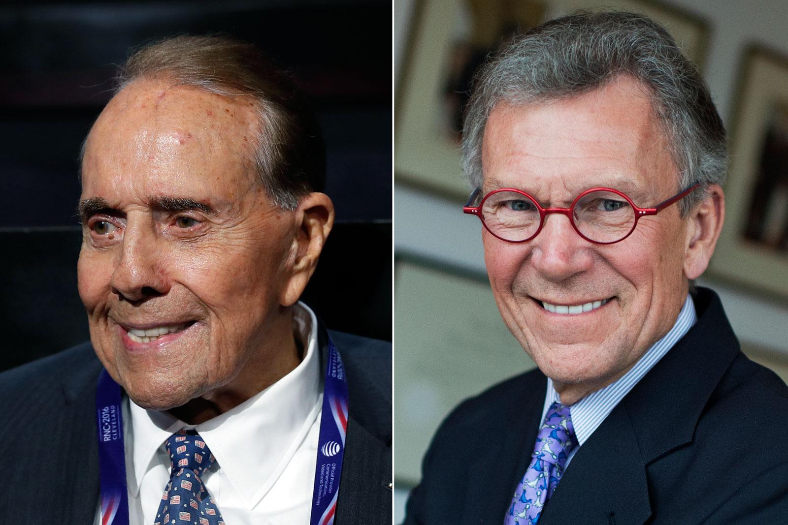 Sen. Bob Dole in Cleveland, OH, July 18, 2016 (L); Sen. Tom Daschle in his pffice in Washington, DC, on Nov. 17, 2014.