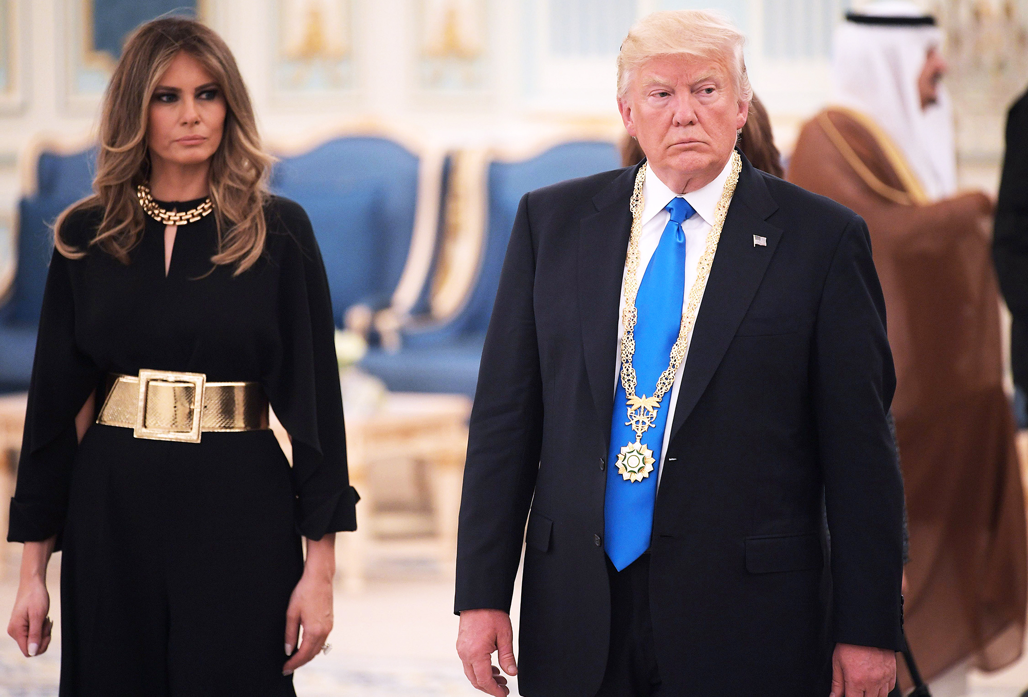 Melania and Donald Trump make their way to a luncheon after Trump received the Order of Abdulaziz Al Saud medal from Saudi Arabia's King Salman bin Abdulaziz Al Saud at the Saudi Royal Court in Riyadh, Saudi Arabia, on May 20, 2017.