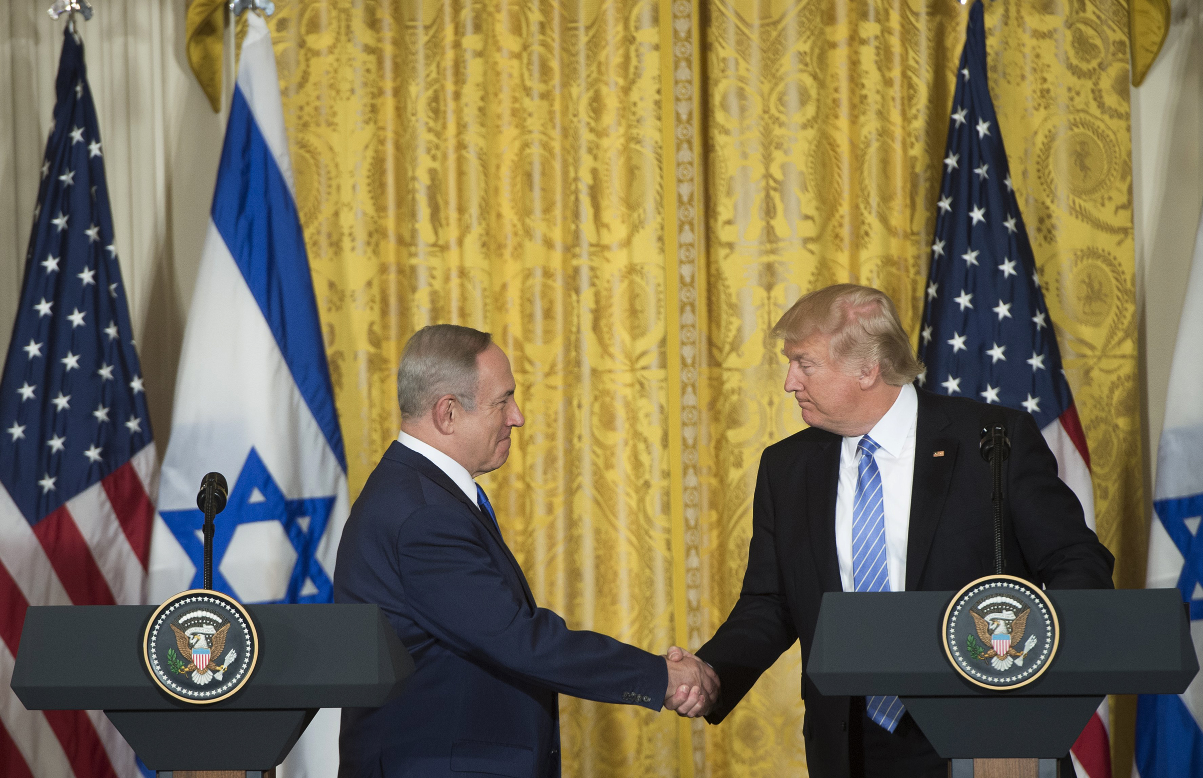 President Trump and Israeli Prime Minister Benjamin Netanyahu hold a joint press conference in the East Room of the White House on Feb. 15, 2017.