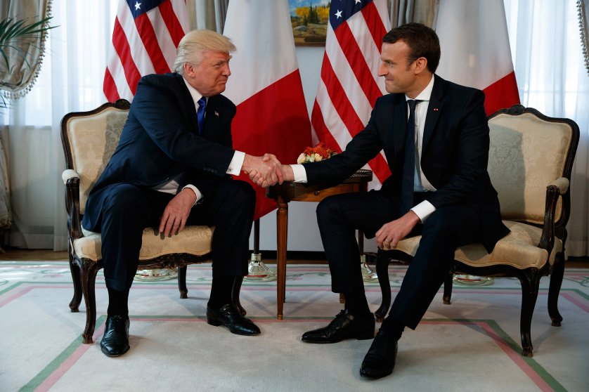 President Trump shakes hands with French President Emmanuel Macron during a meeting at the U.S. Embassy in Brussels on May 25, 2017.