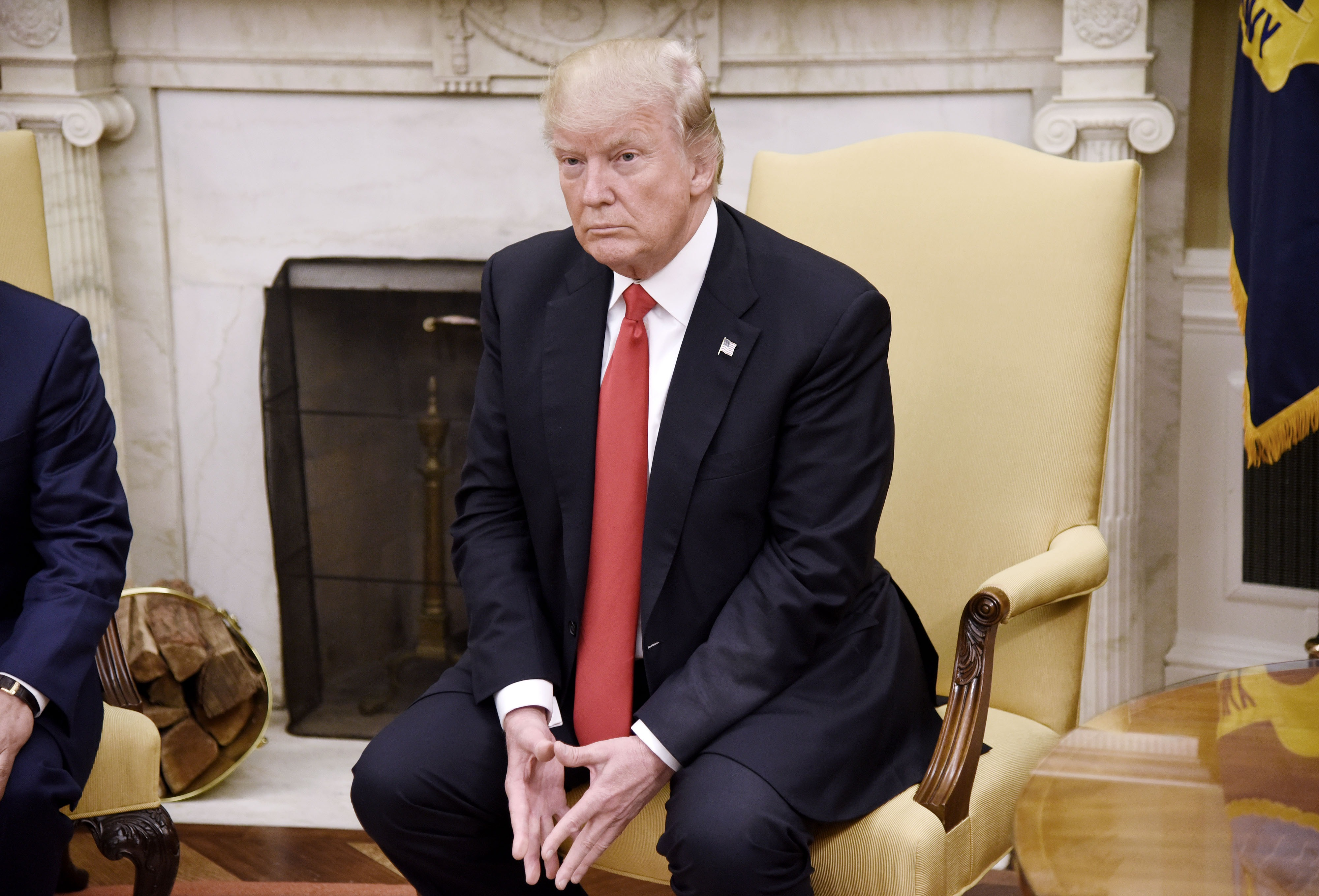 US President Donald Trump looks on during a meeting with Prime Minister Nguyen Xuan Phuc of Vietnam in the Oval Office of the White House, on May 31, 2017 in Washington, DC.