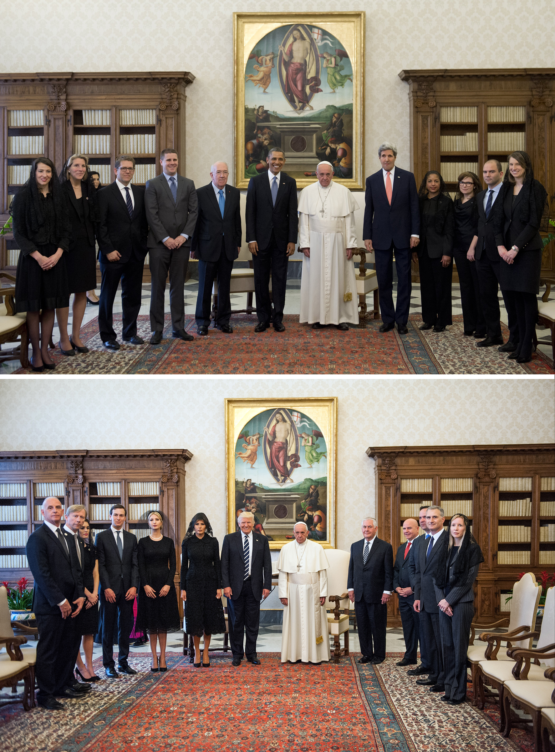 Top: President Obama and delegation meet Pope Francis in March 2014. Bottom: Trump and his delegation in May 2017.