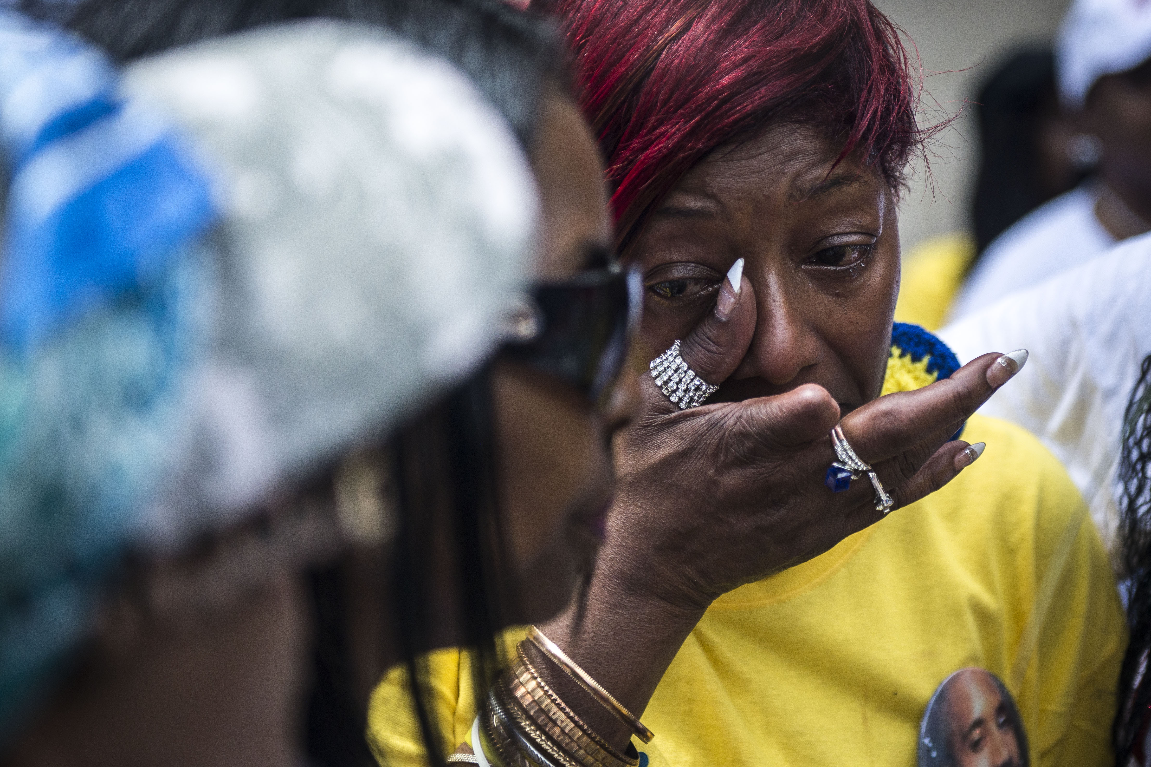 WASHINGTON, DC - MARCH 9:                                         Maria Hamilton, whose 31-year-old son Dontre was shot and killed by former Milwaukee Police Officer Christopher Manney in Red Arrow Park, WI, mourns during the Million Mom March, organized by Mothers for Justice, on May 9, 2015 in Washington, D.C.