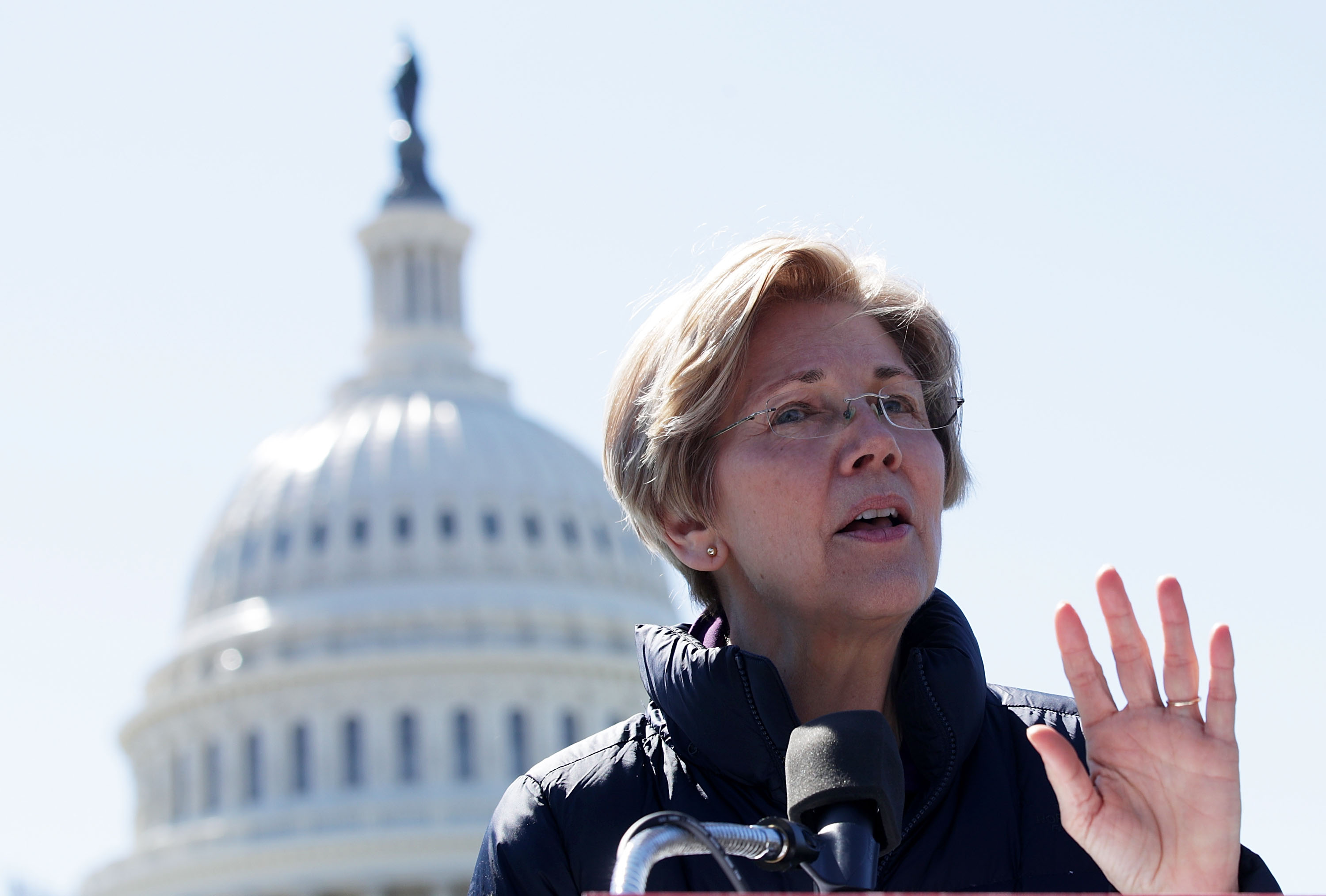 Sen. Elizabeth Warren (D-MA) speaks during a rally in front of the Capitol on March 22, 2017 in Washington, D.C.