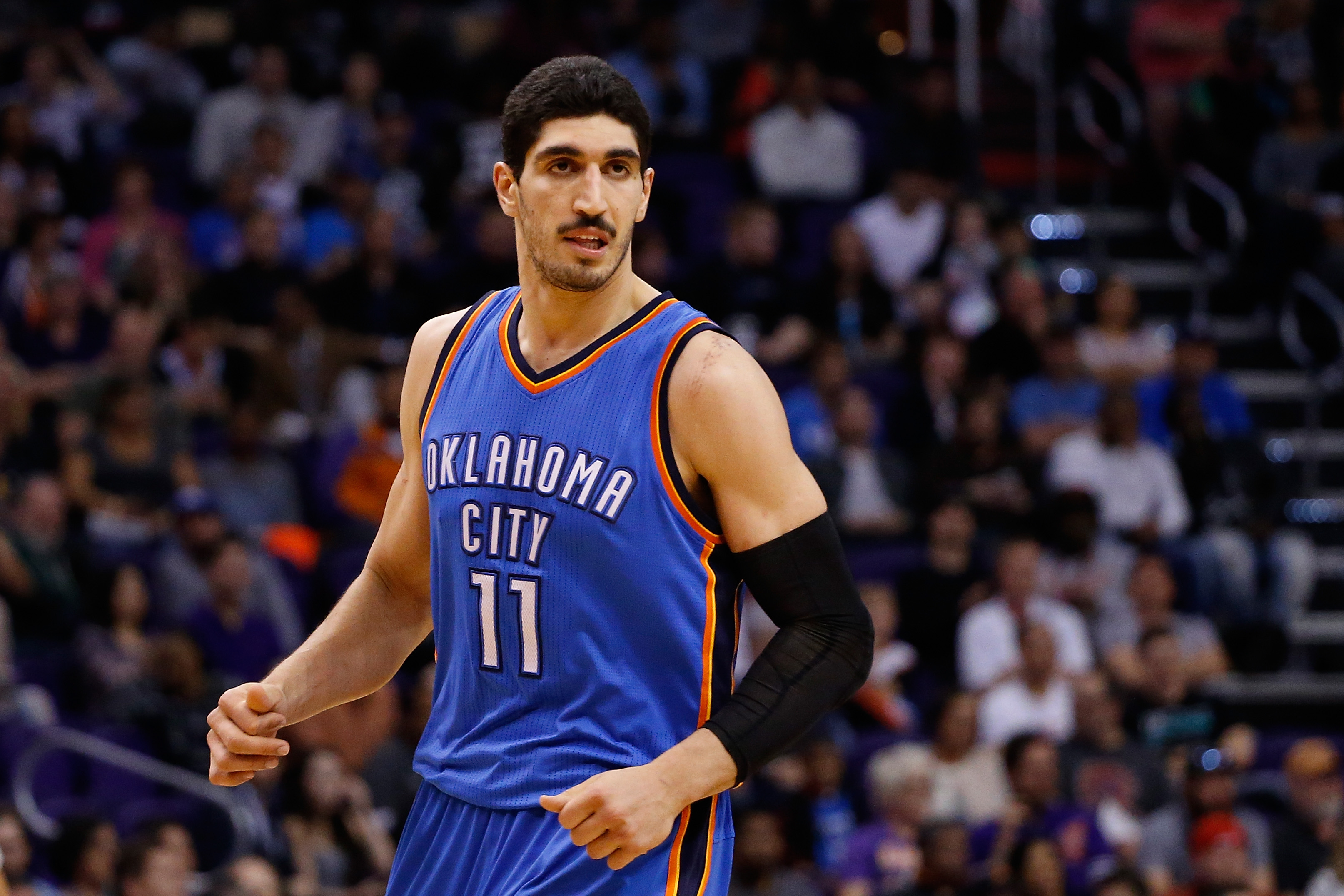 PHOENIX, AZ - FEBRUARY 08:  Enes Kanter #11 of the Oklahoma City Thunder during the NBA game against the Phoenix Suns at Talking Stick Resort Arena