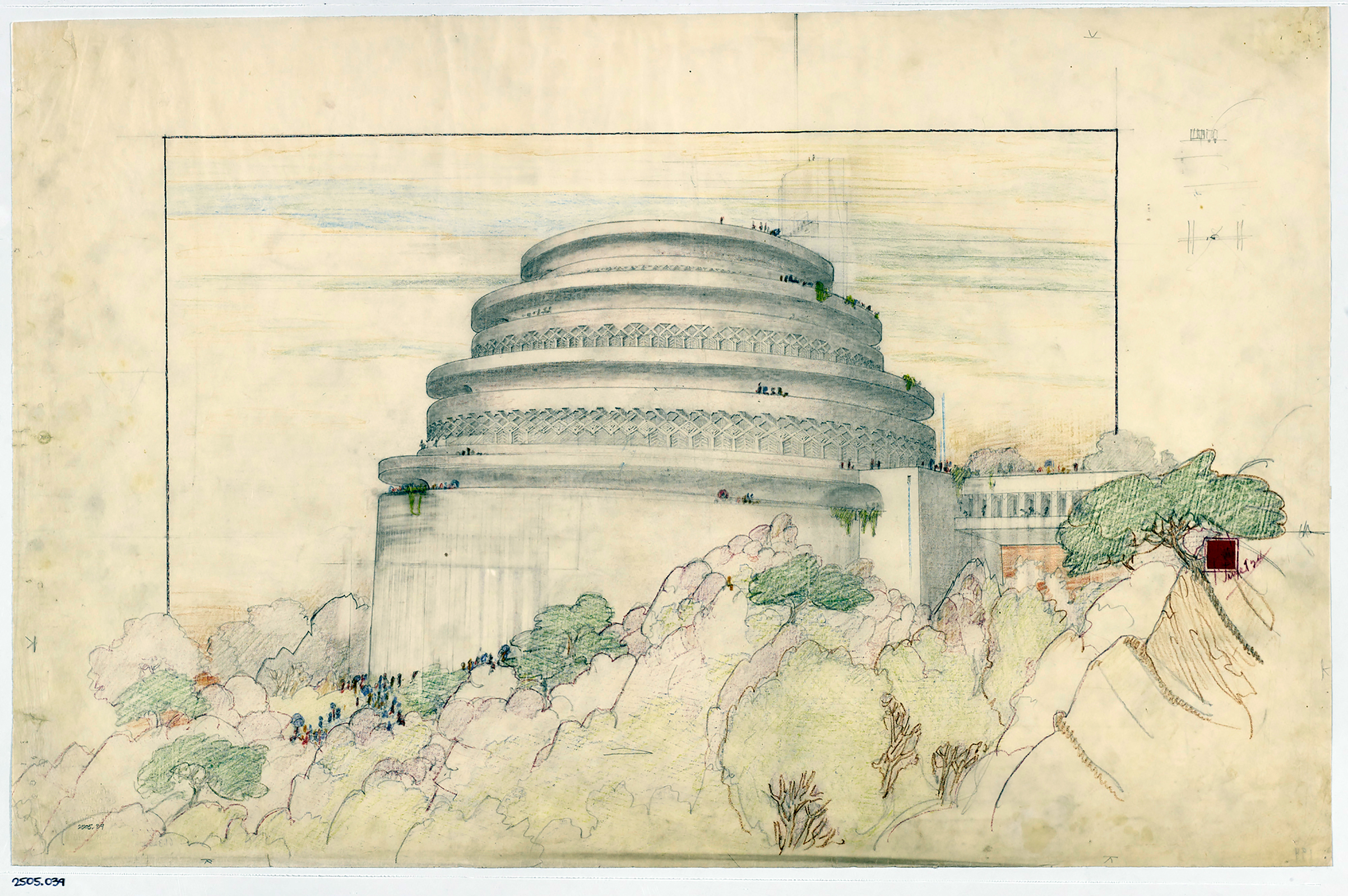 Frank Lloyd Wright (American, 1867–1959). Gordon Strong Automobile Objective and Planetarium, Sugarloaf Mountain, Maryland. Project, 1924–25. Perspective. Pencil and colored pencil on tracing paper.