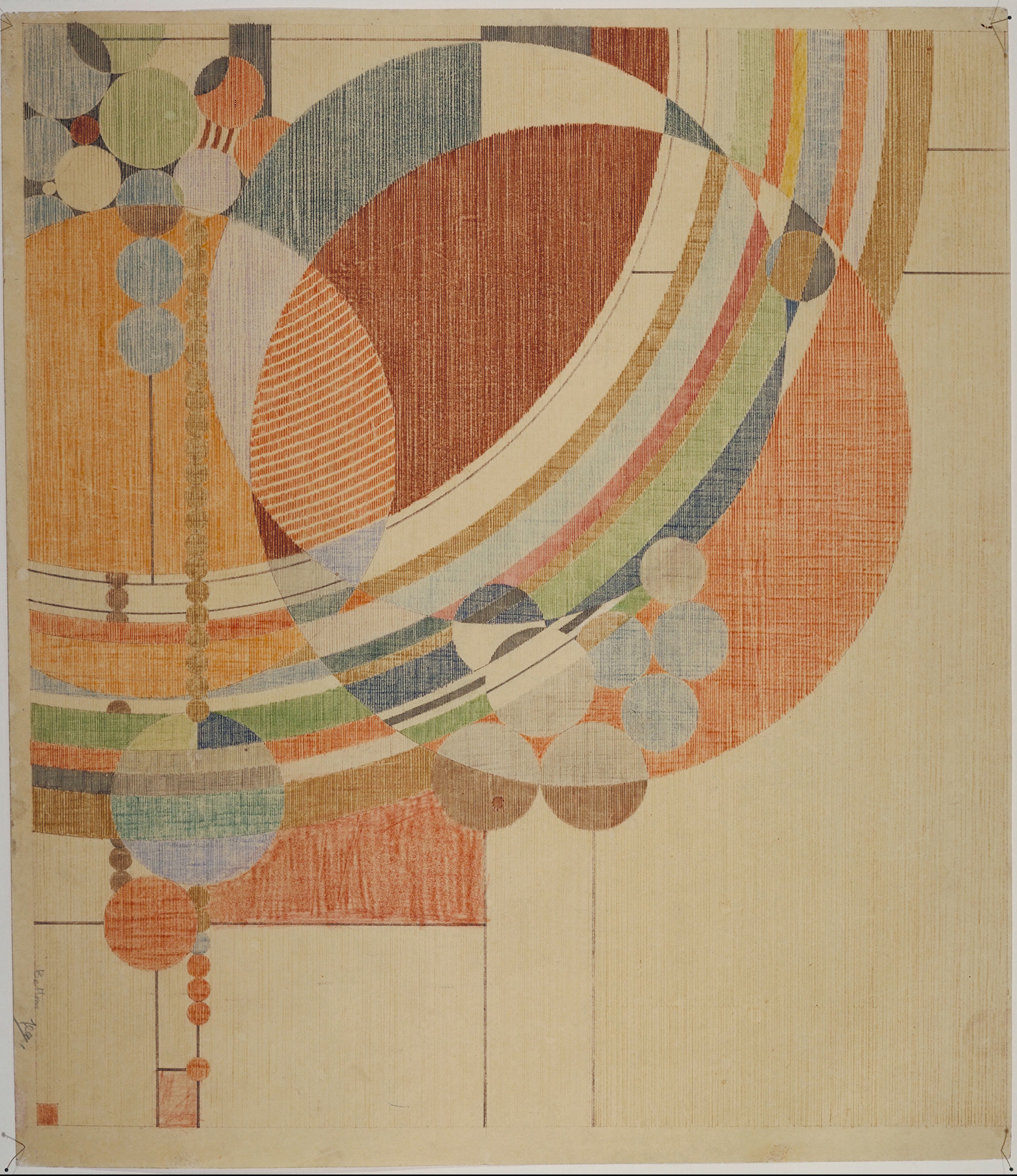 Frank Lloyd Wright (American, 1867–1959). March Balloons. 1955. Drawing based on a c. 1926 design for Liberty magazine. Colored pencil on paper.