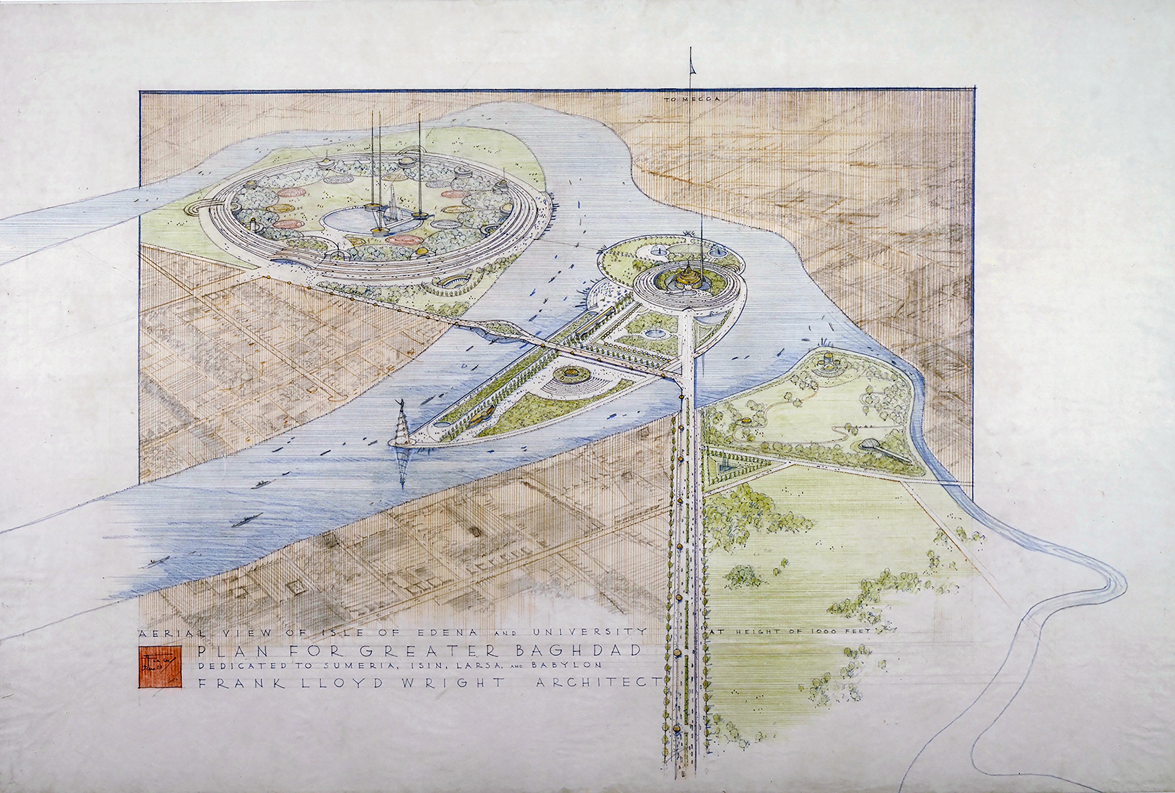 Frank Lloyd Wright (American, 1867–1959). Plan for Greater Baghdad. Unbuilt project. 1957-58.