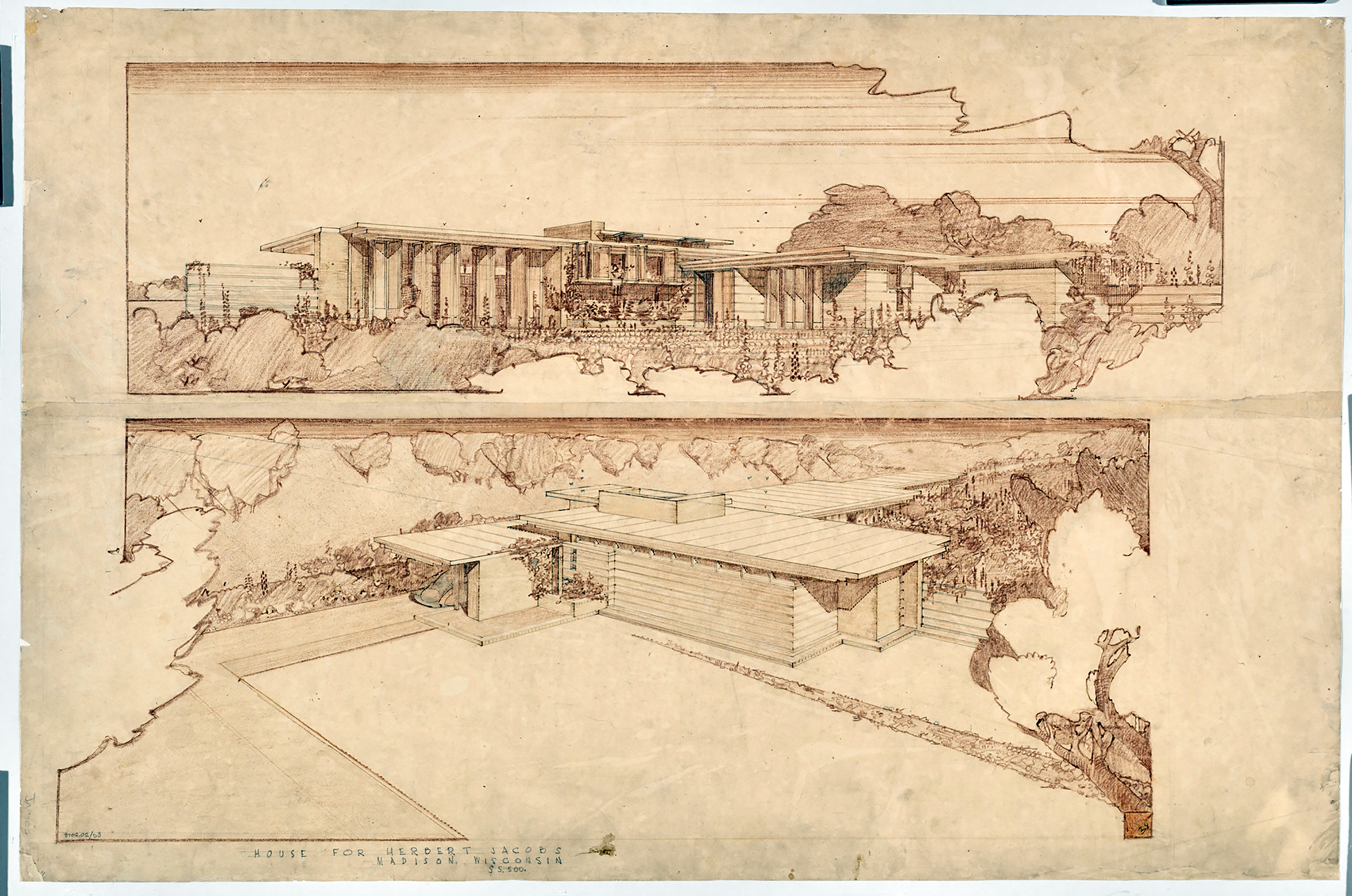 Frank Lloyd Wright (American, 1867–1959). Jacobs House, Madison, Wisconsin. 1936–37. Exterior perspectives. Colored pencil on paper.