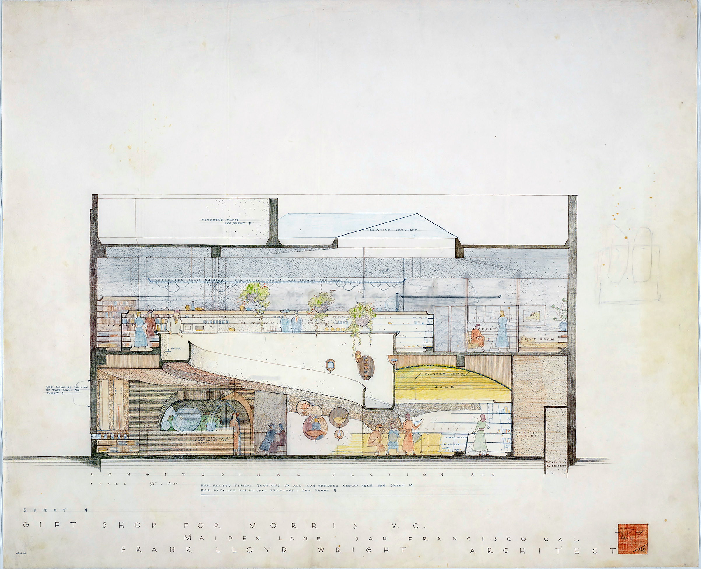 Frank Lloyd Wright (American, 1867–1959). V.C. Morris Shop, San Francisco. 1948–49. Longitudinal section. Pencil and colored pencil on paper.