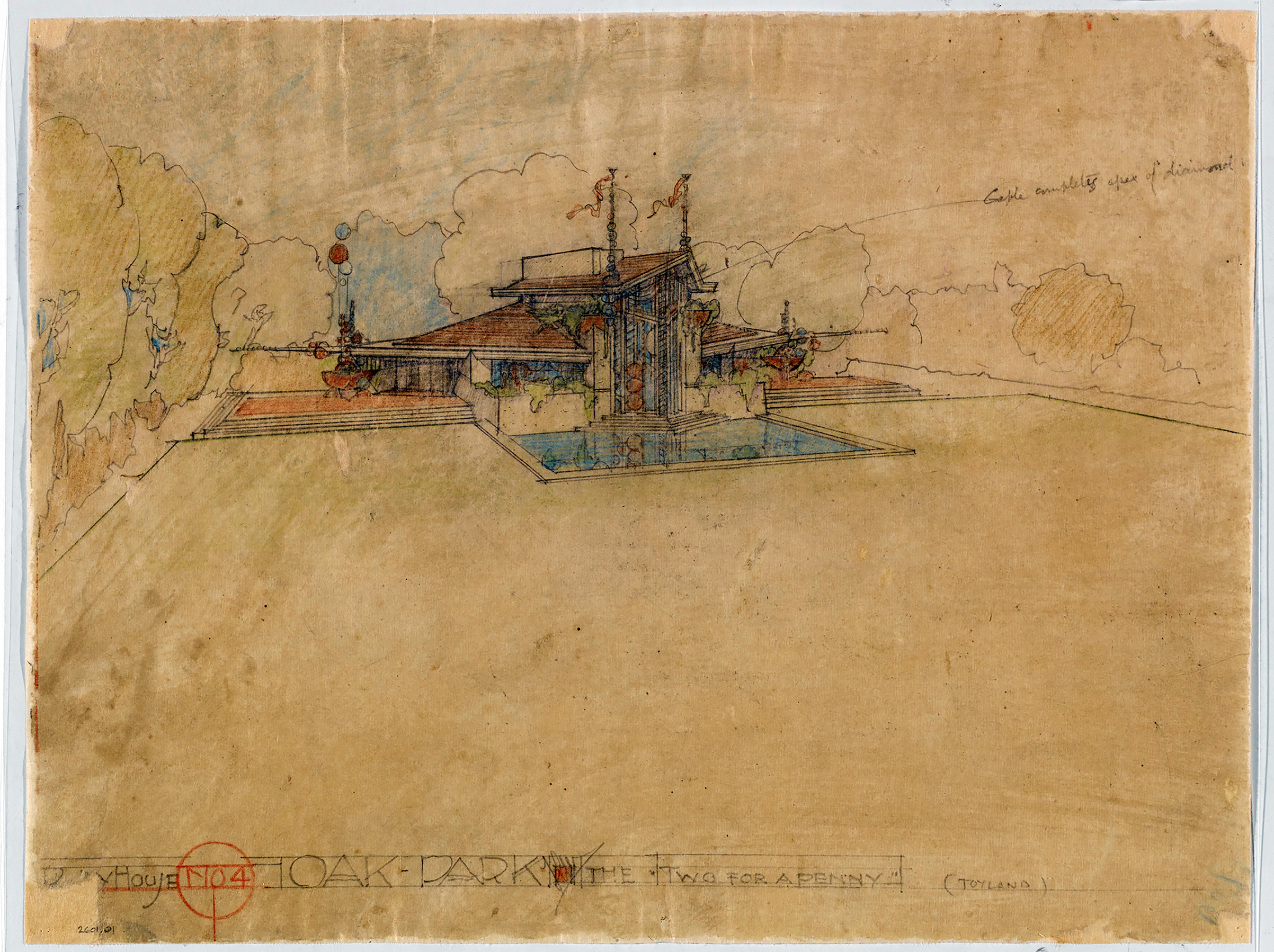 "Frank Lloyd Wright (American, 1867–1959). Kindersymphonies Playhouses for the Oak Park Playground Association, Oak Park, Illinois. Project, 1926. Perspective of the ""Two for a Penny"" house. Pencil and colored pencil on tracing paper."