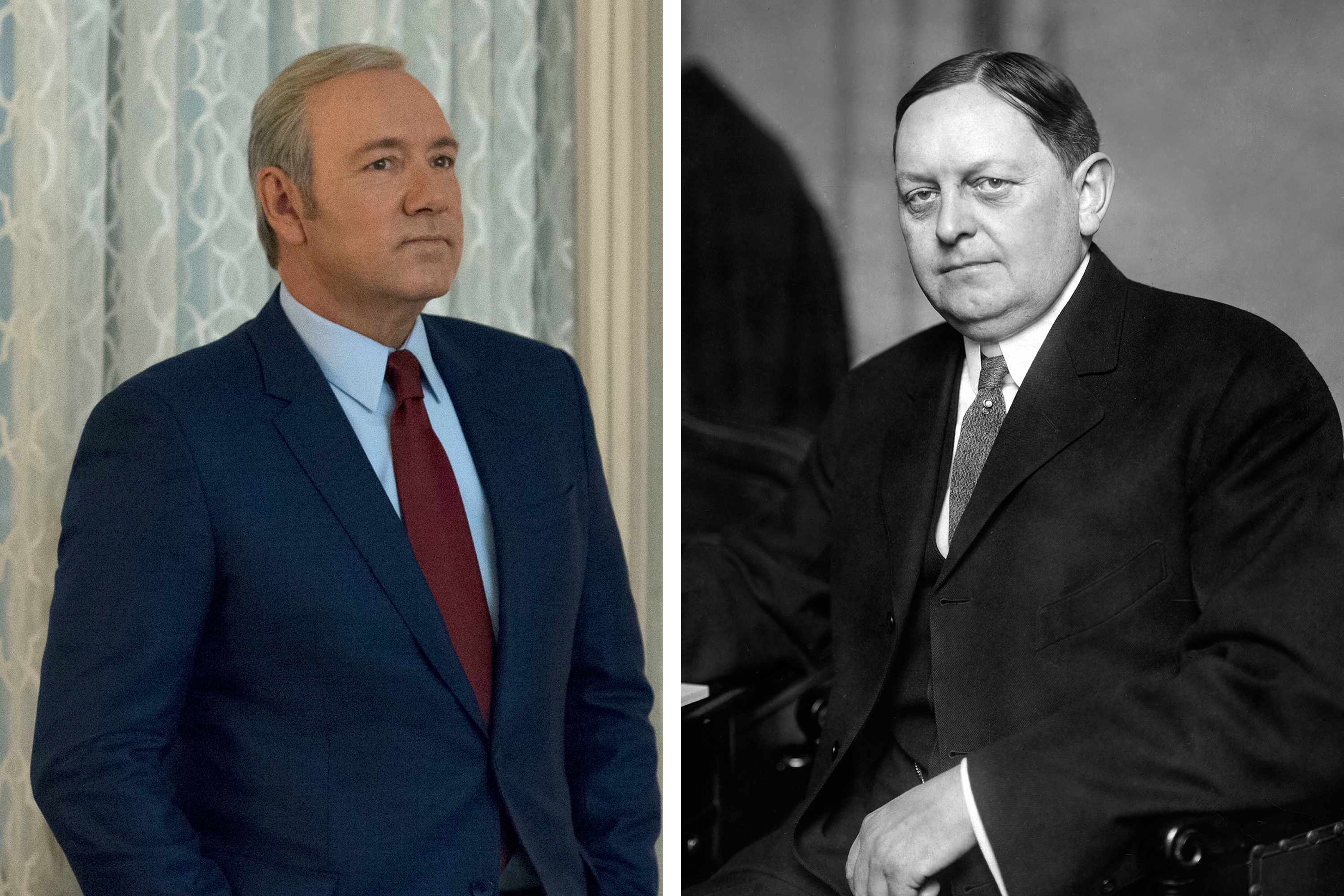 (left) Kevin Spacey as Frank Underwood in Season 4 of House of Cards on Netflix; (right) Oscar Underwood, 1912.