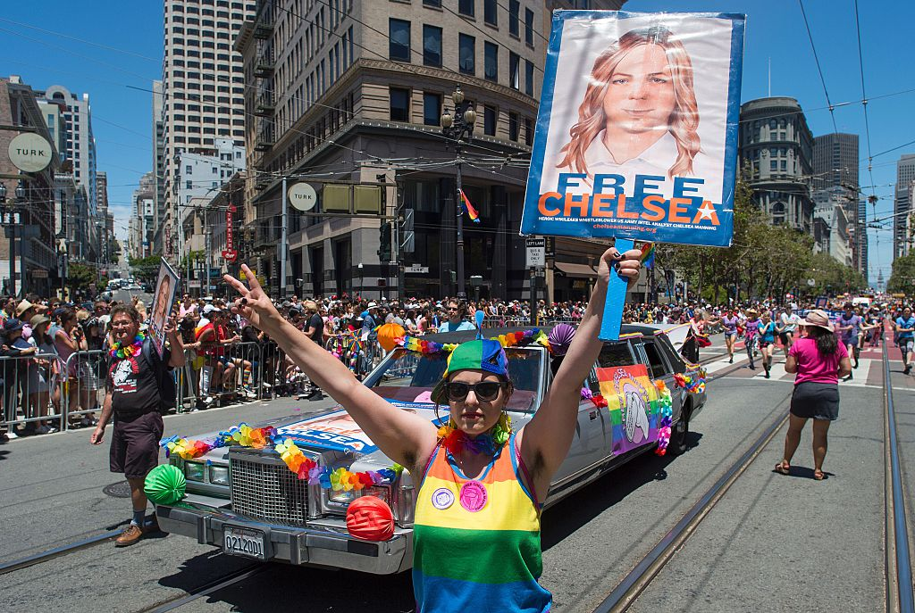 People support Chelsea Manning at the Gay Pride parade route in San Francisco, California on June, 26, 2016.