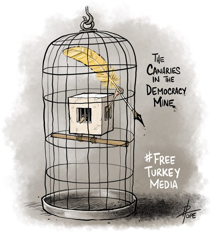 A cartoon for Amnesty International's FreeTurkeyMedia campaign by Dave Pope