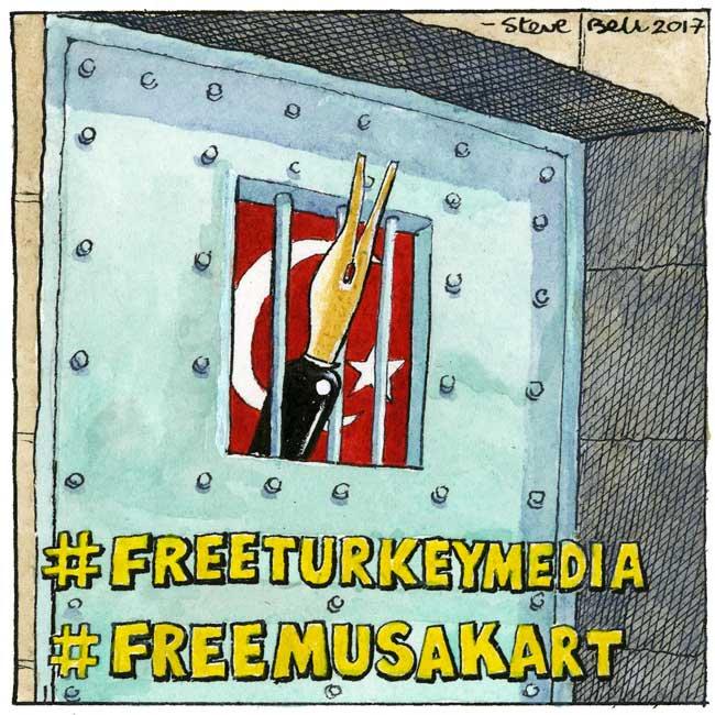 A cartoon for Amnesty International's FreeTurkeyMedia campaign by cartoonist Steve Bell