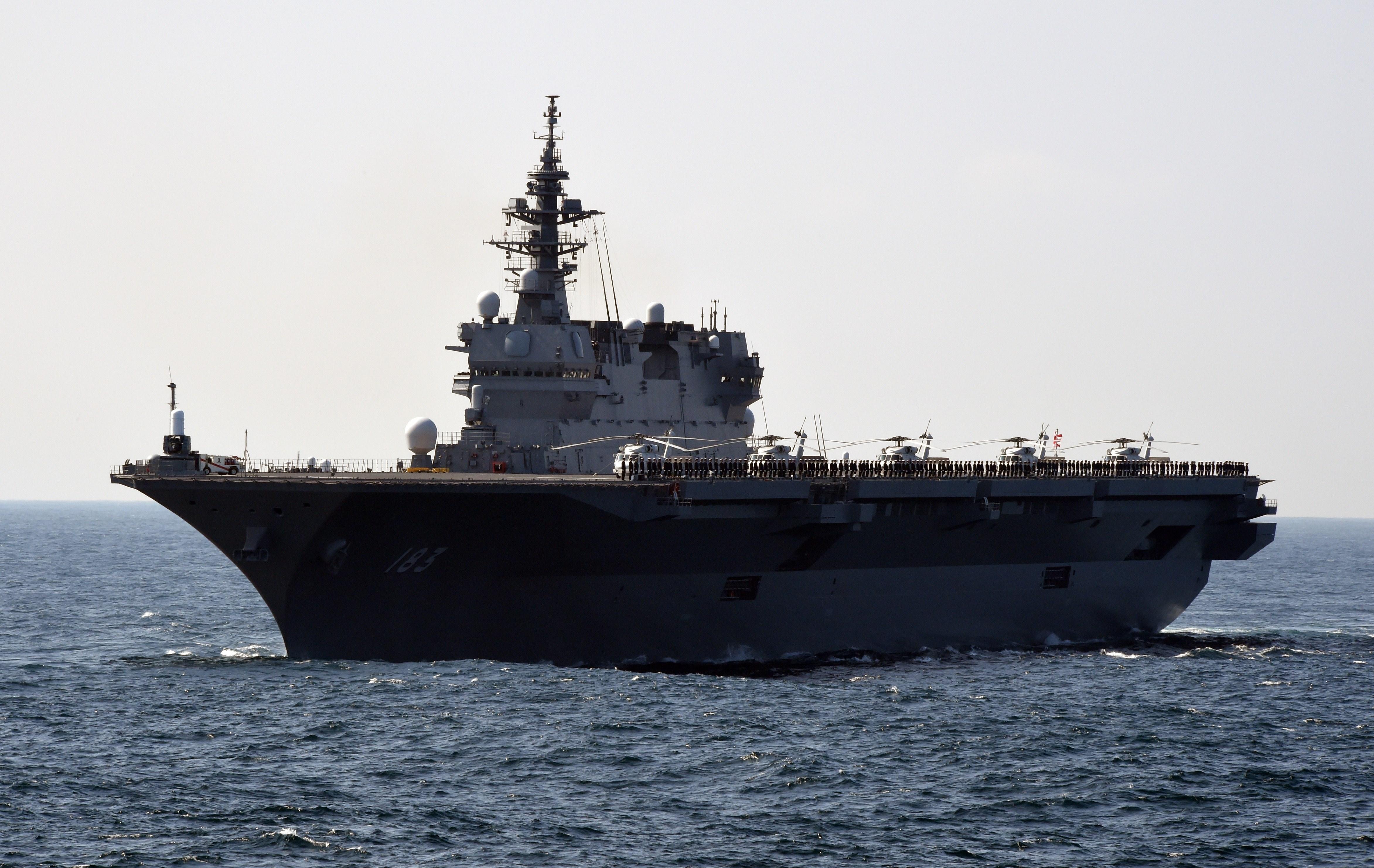 Japan's Maritime Self-Defense Force (MSDF) escort ship Izumo near Sagami Bay, Kanagawa, on Oct. 18, 2015.