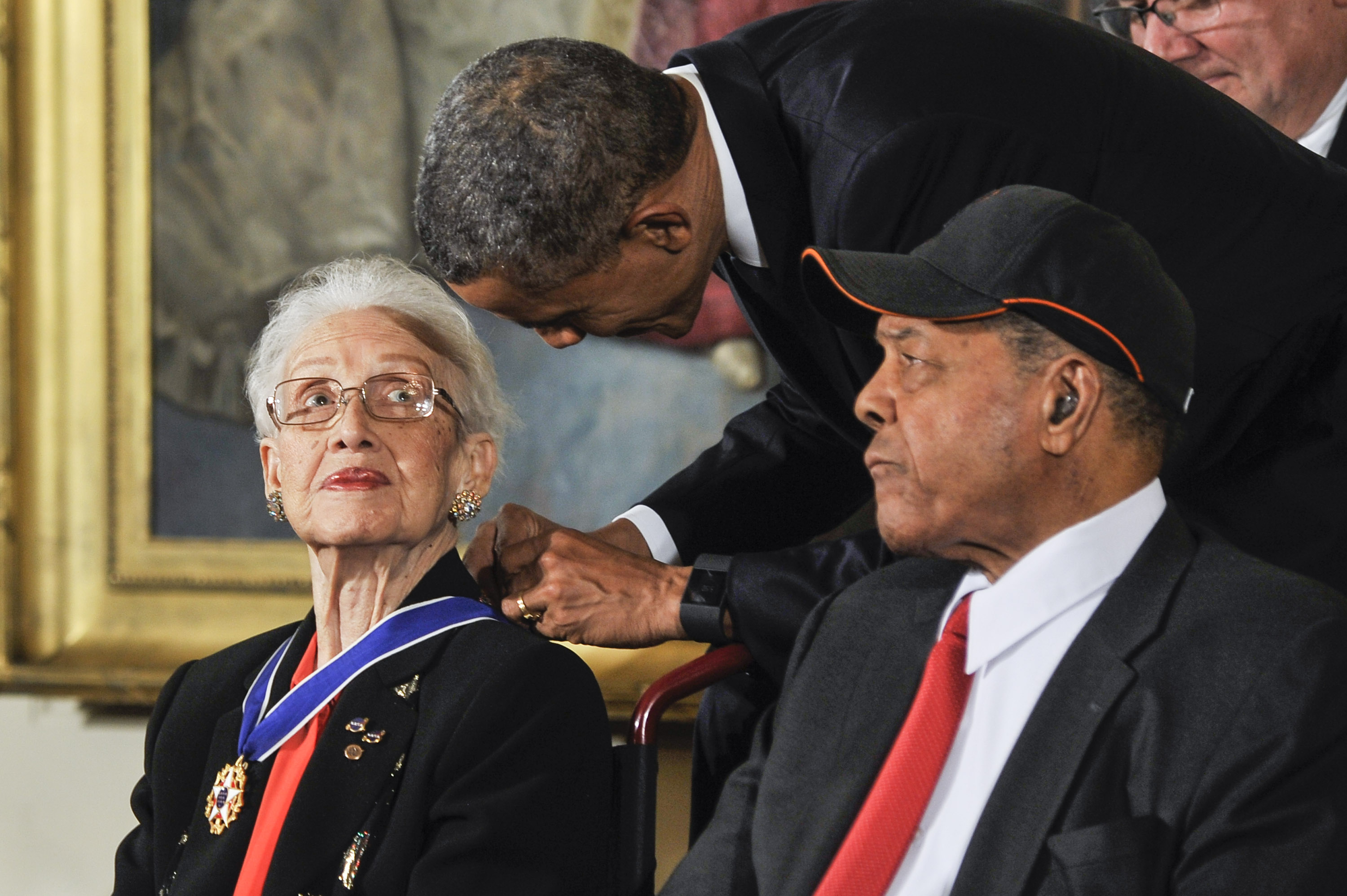President Barack Obama presents Katherine G. Johnson with the Presidential Medal of Freedom during the 2015 Presidential Medal Of Freedom Ceremony at the White House on November 24, 2015 in Washington, DC.