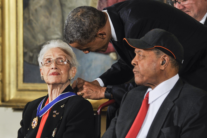 President Barack Obama presents Katherine G. Johnson with the Presidential Medal of Freedom during the 2015 Presidential Medal Of Freedom Ceremony at the White House on November 24, 2015 in Washington, DC.