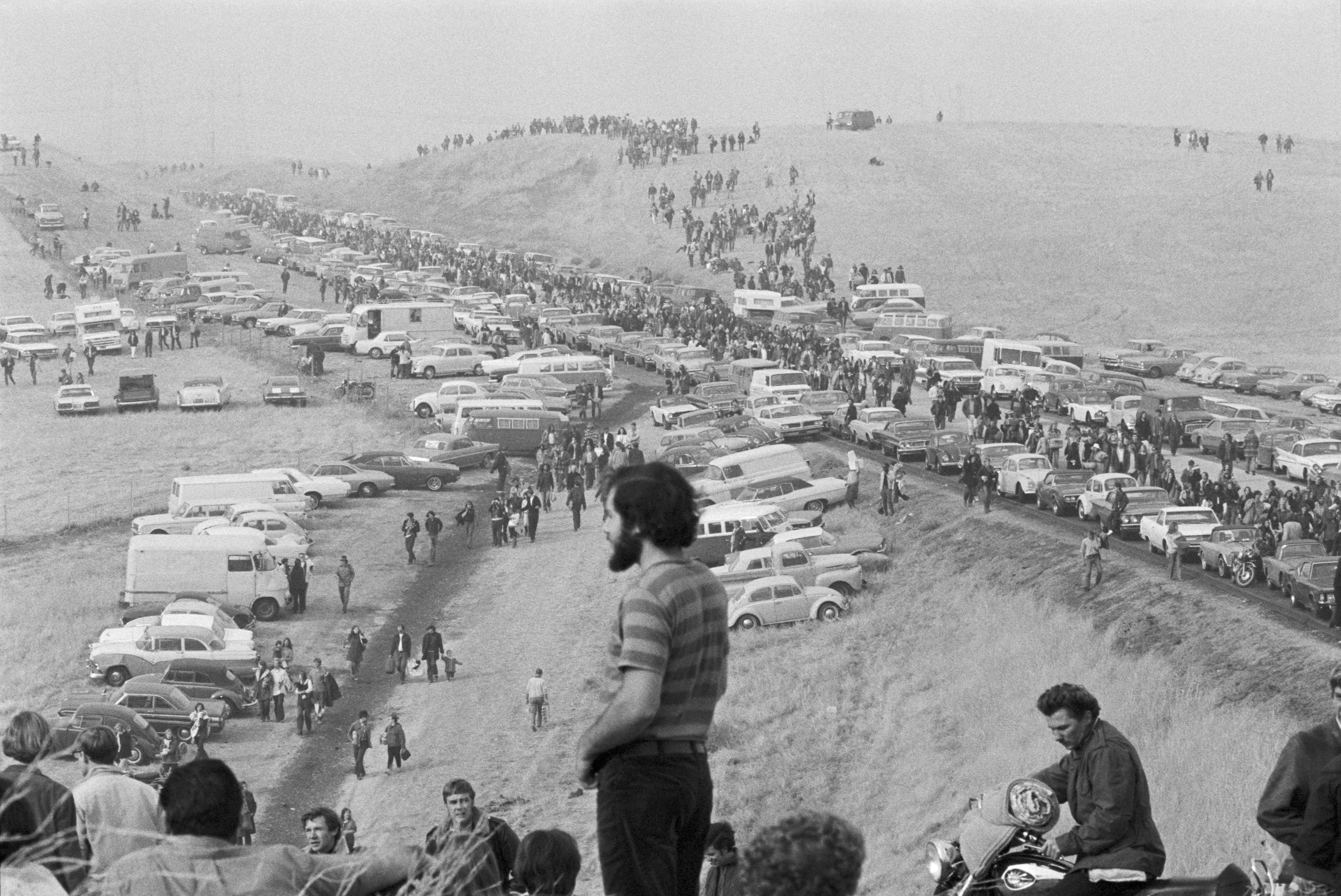 People arrive at the Altamont Speedway Free Festival in northern Calif., Dec. 6, 1969