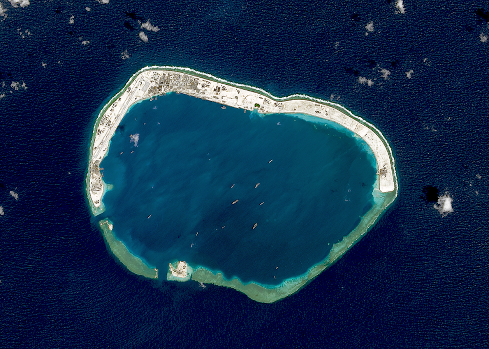 A satellite image of Mischief Reef located in the Spratly Islands in the South China Sea on Feb. 18, 2016.