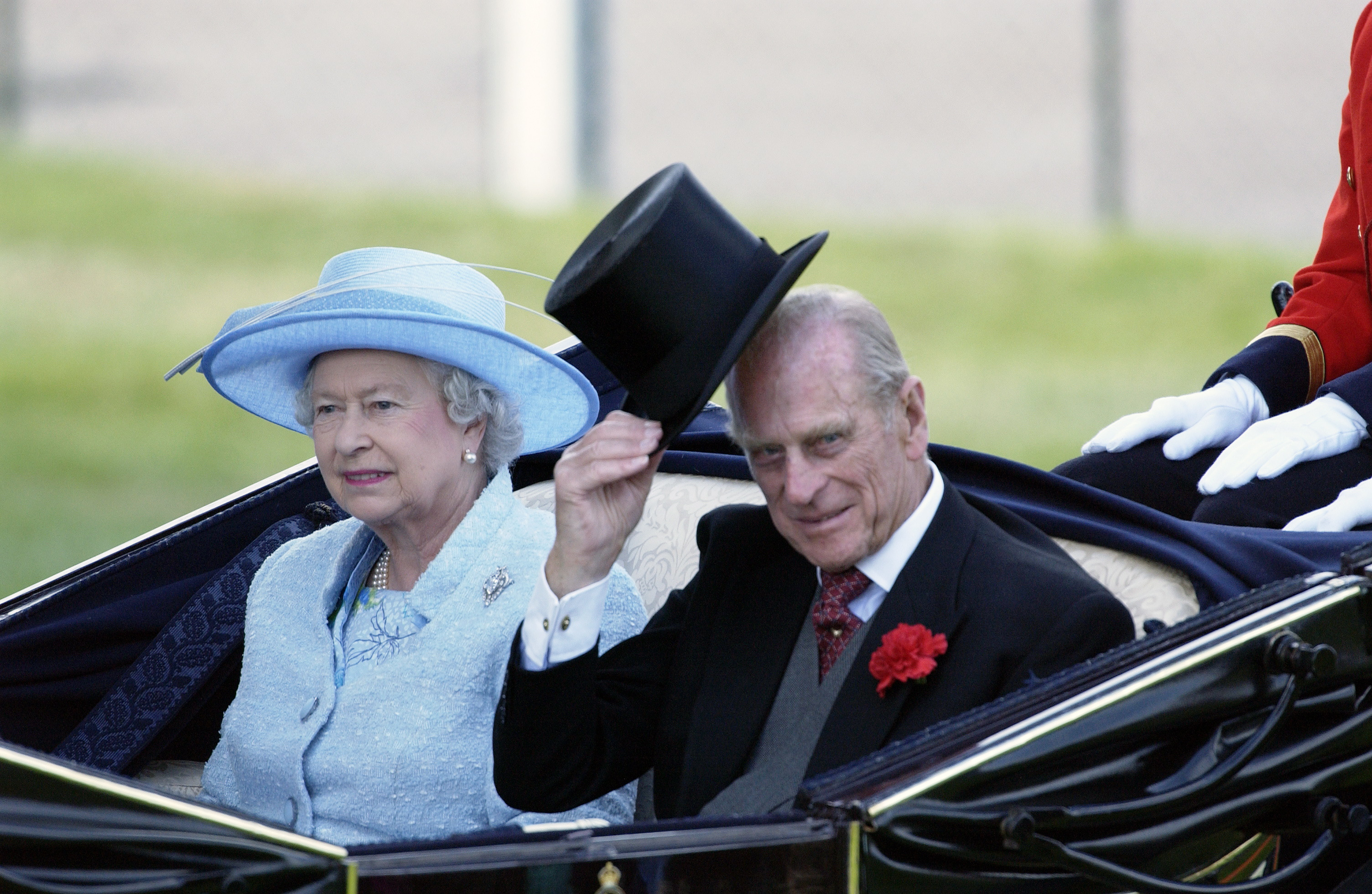 Queen Elizabeth and Prince Philip at the Royal Ascot Races on June 16, 2004.