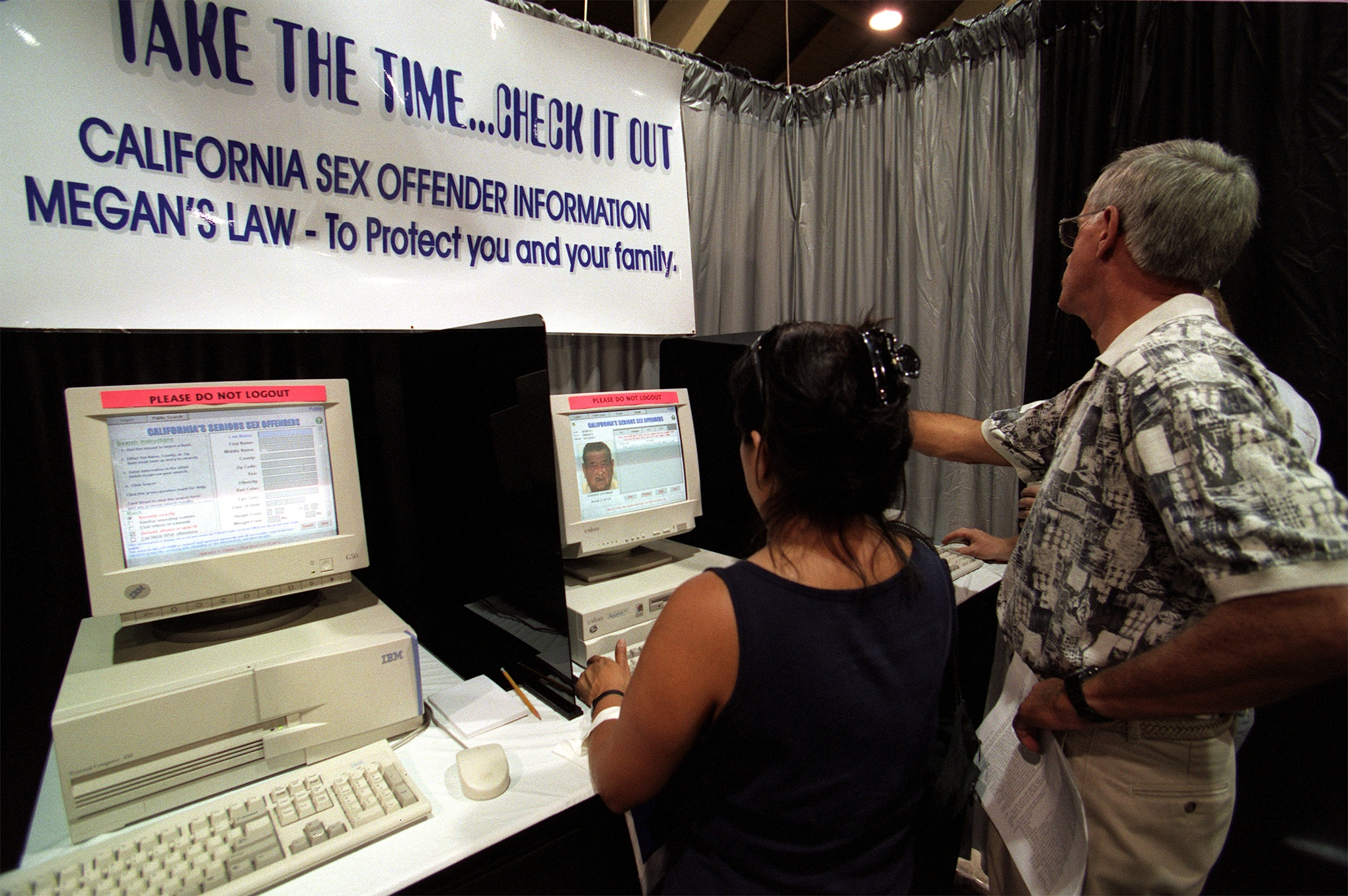 At the Los Angeles County Fair in Pomona, a booth was set up for fairgoers to check on sex offenders in their neighborhood under the Megan's Law.