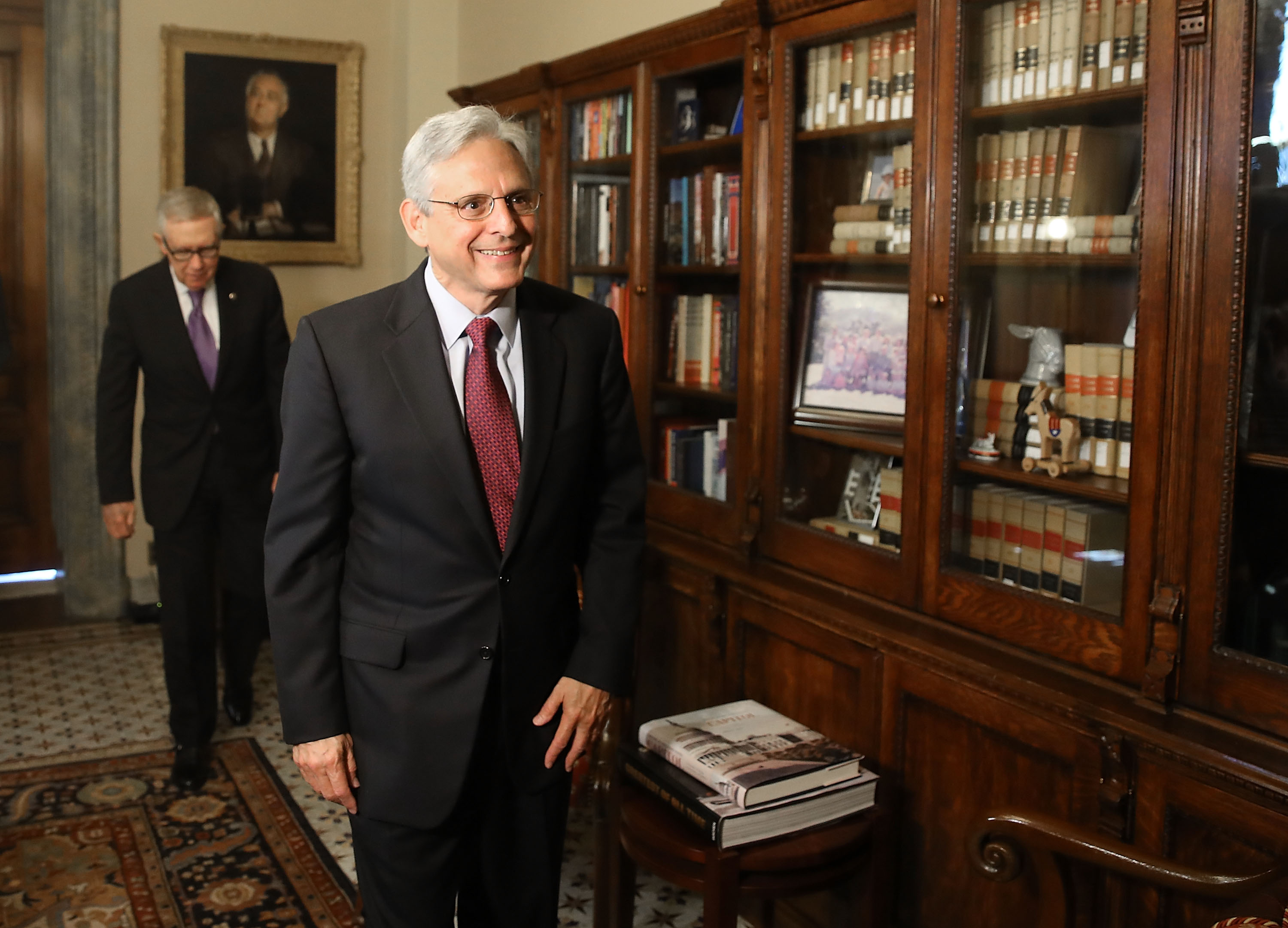 Supreme Court nominee Merrick Garland, (R), meets with Senate Minority Leader Harry Reid (D-NV), on Capitol Hill September 14, 2016 in Washington, DC. Senate Majority Leader Mitch McConnell said earlier in the week that the Senate Judiciary Committee will not hold hearings during this session of Congress.