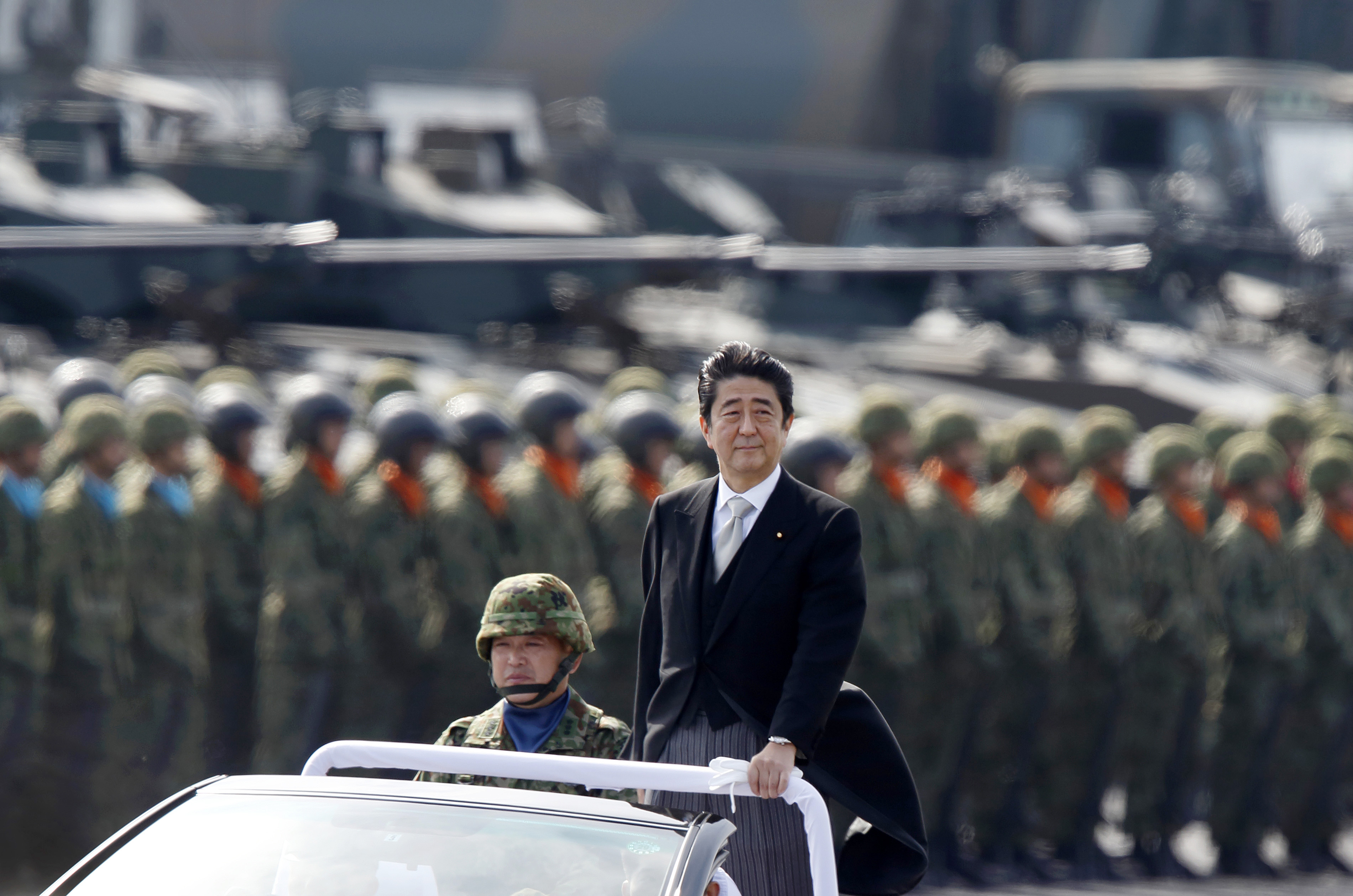 Japanese Prime Minister Shinzo Abe at the Japan Ground Self-Defense Force Camp in Asaka, Japan, on Oct. 23, 2016.