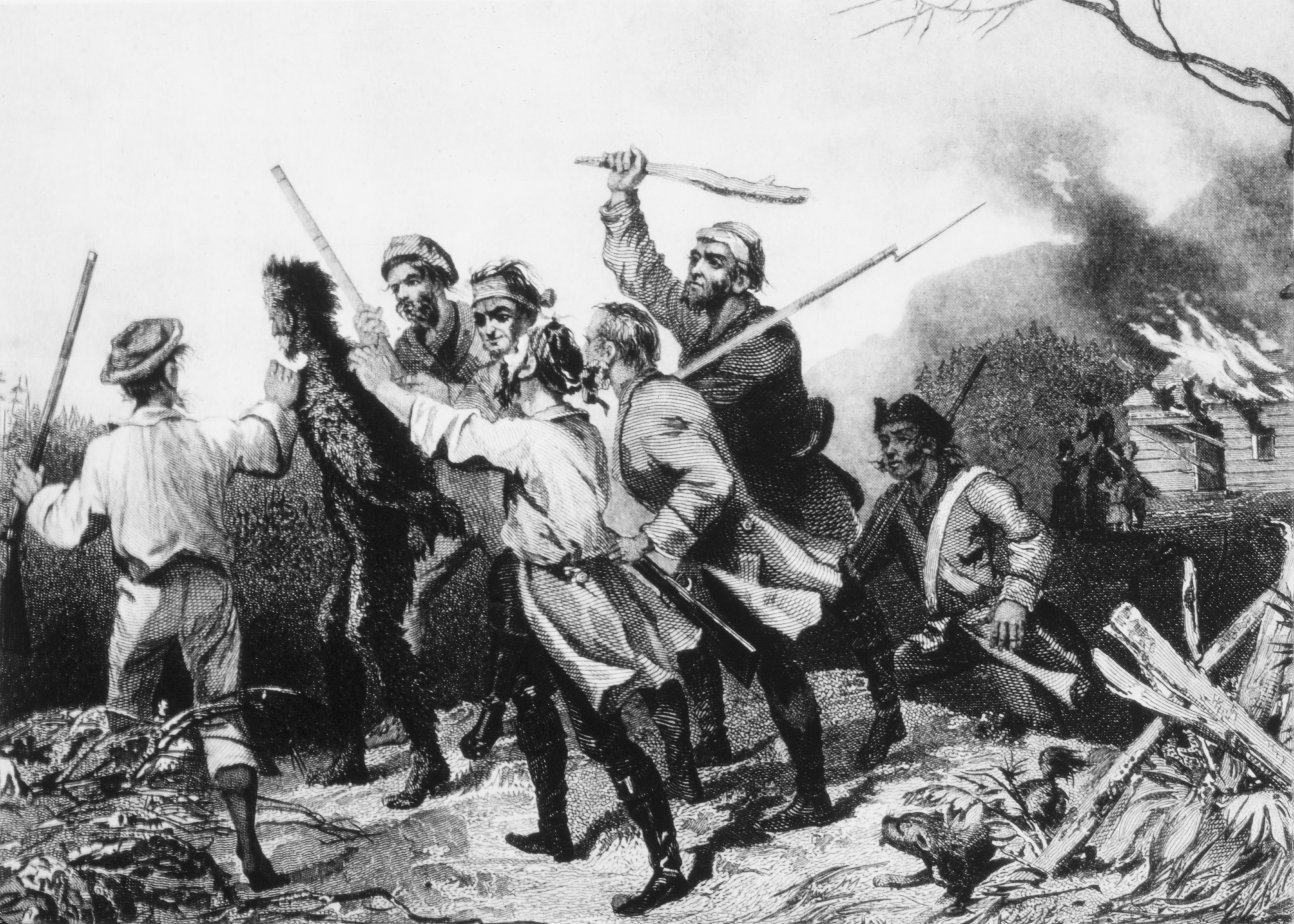 Rebels tarring and feathering a tax collector in western Pennsylvania during the Whiskey Rebellion, circa 1794.
