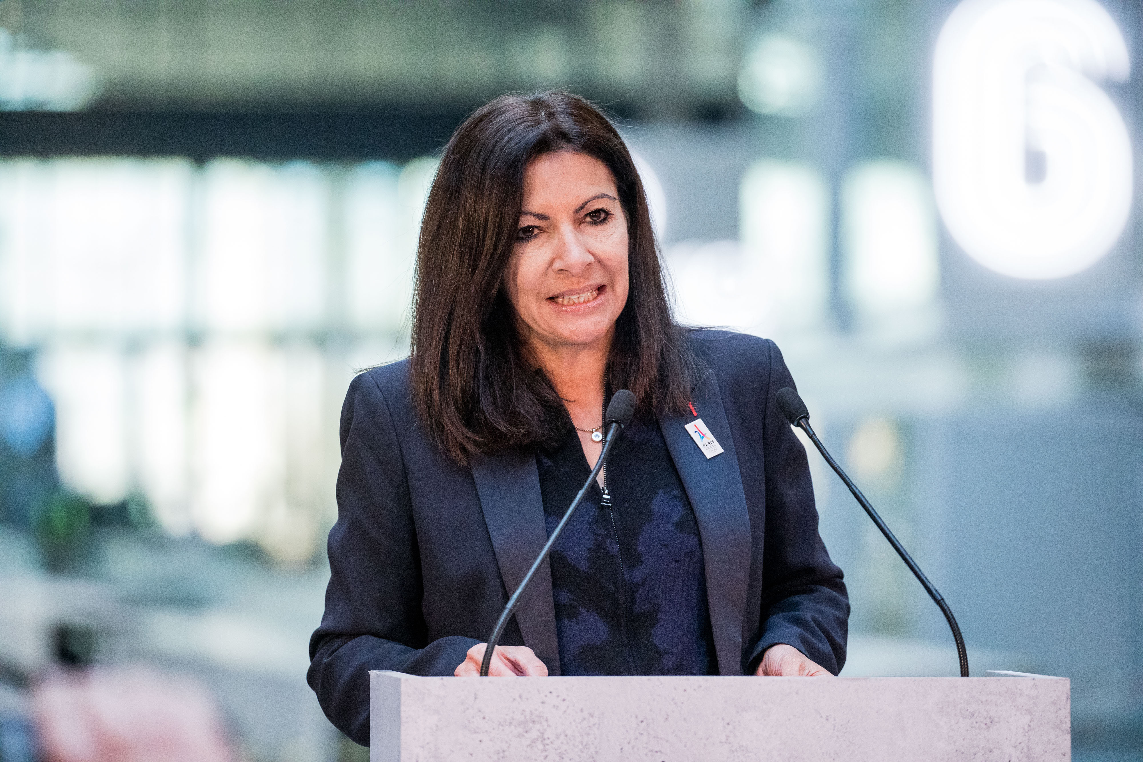 Anne Hidalgo, mayor of Paris, speaks during a news conference at Station F, a mega-campus for startups located inside a former freight railway depot, in Paris, France, on Tuesday, Jan. 17, 2017.