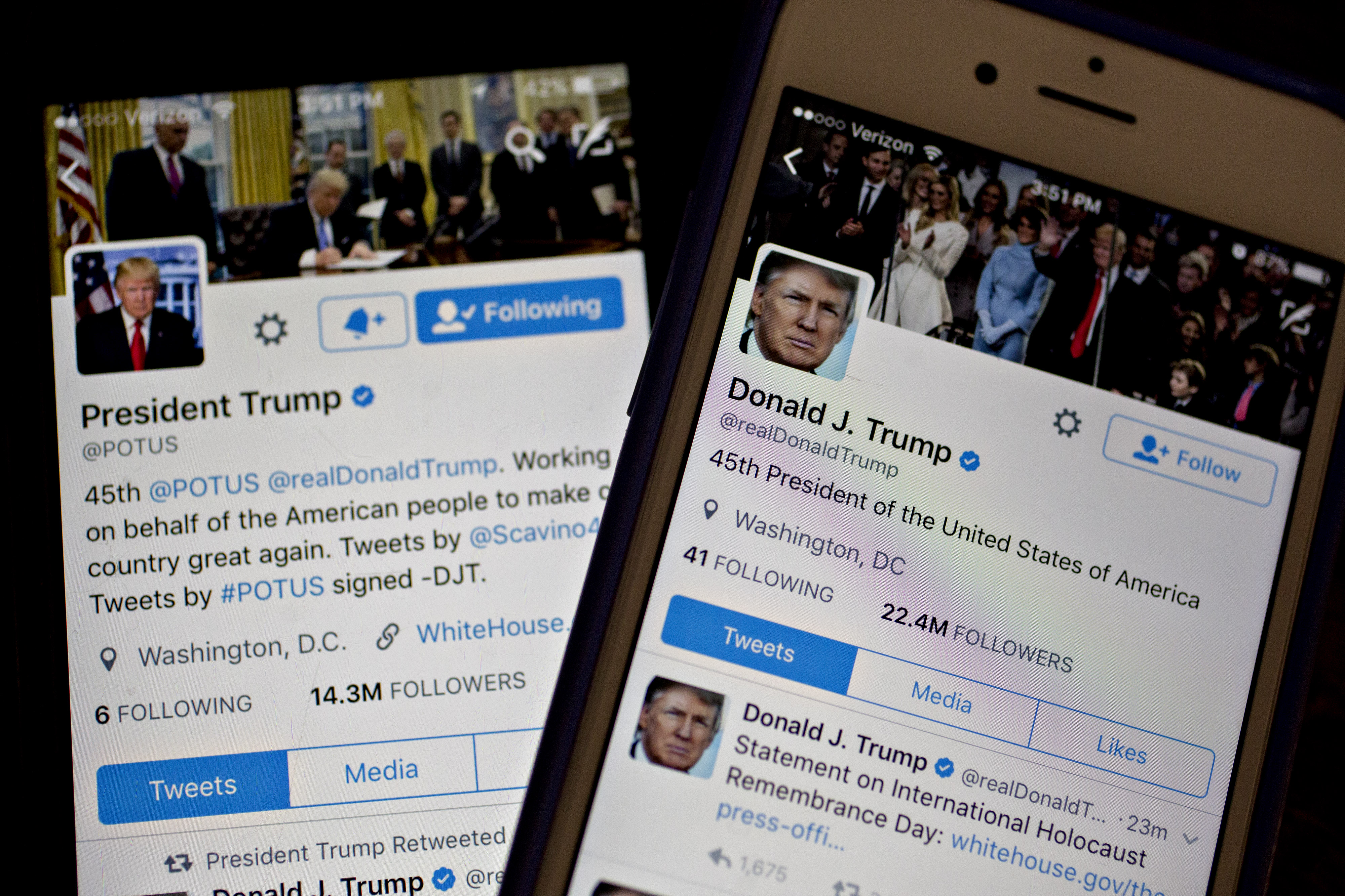 The Twitter accounts of Donald Trump, @POTUS and @realDoanldTrump.