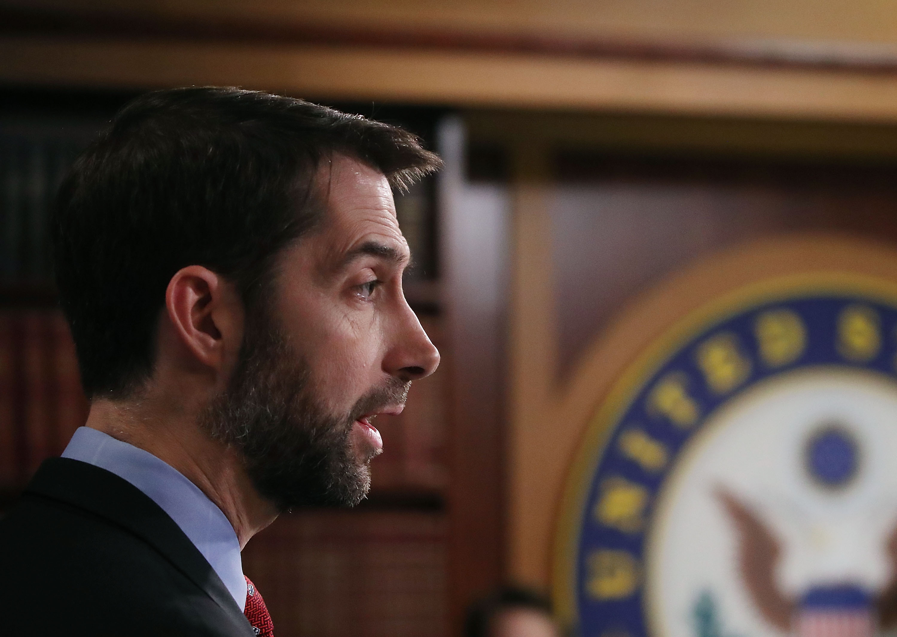 Sen. Tom Cotton (R-AR) speaks to the media during a news conference on Capitol Hill, February 7, 2017 in Washington, DC.