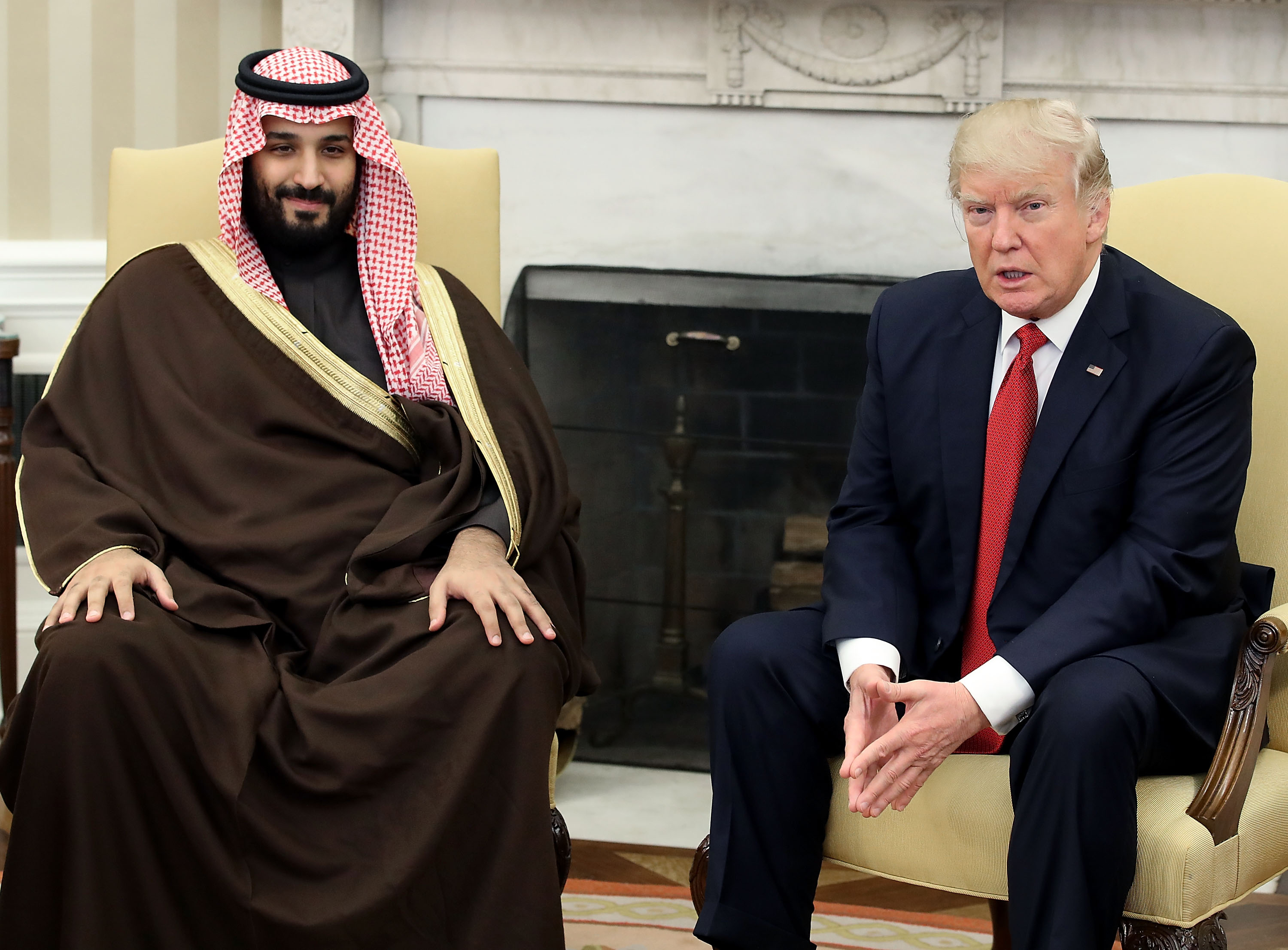 U.S. President Donald Trump (R) meets with Mohammed bin Salman, Deputy Crown Prince and Minister of Defense of the Kingdom of Saudi Arabia, in the Oval Office at the White House, March 14, 2017 in Washington, DC.