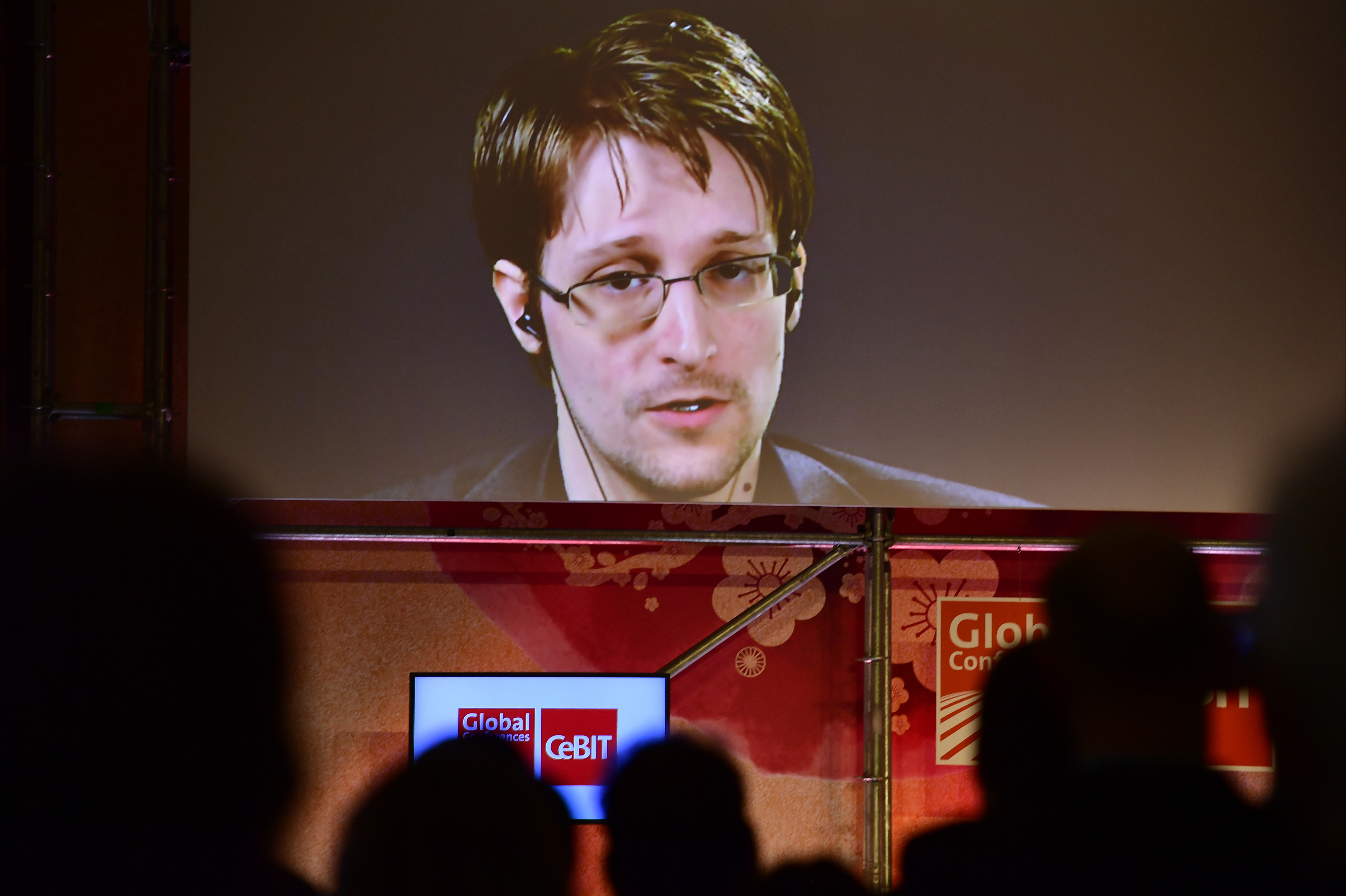 Whistleblower Edward Snowden broadcast live from Russia at the CeBIT 2017 Technology Trade Fair on March 21, 2017 in Hanover, Germany.