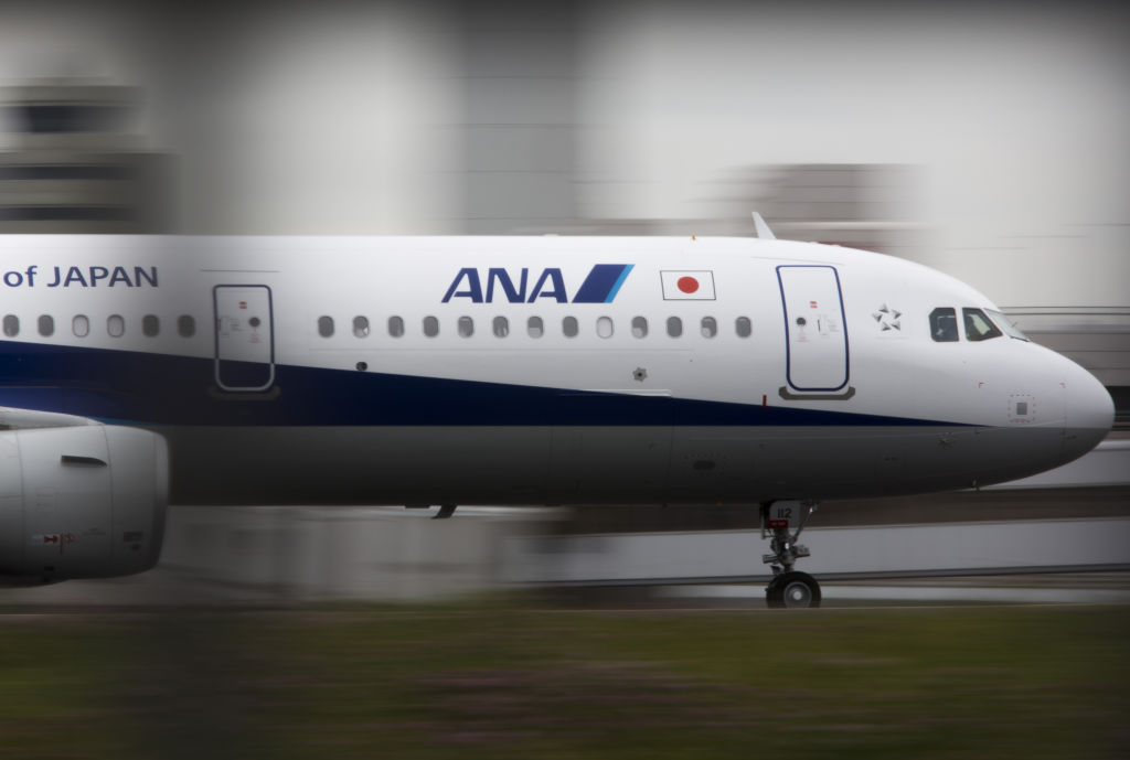 An All Nippon Airways Co. (ANA) aircraft taxis at Haneda Airport in Tokyo, Japan, on Wednesday, April 26, 2017.