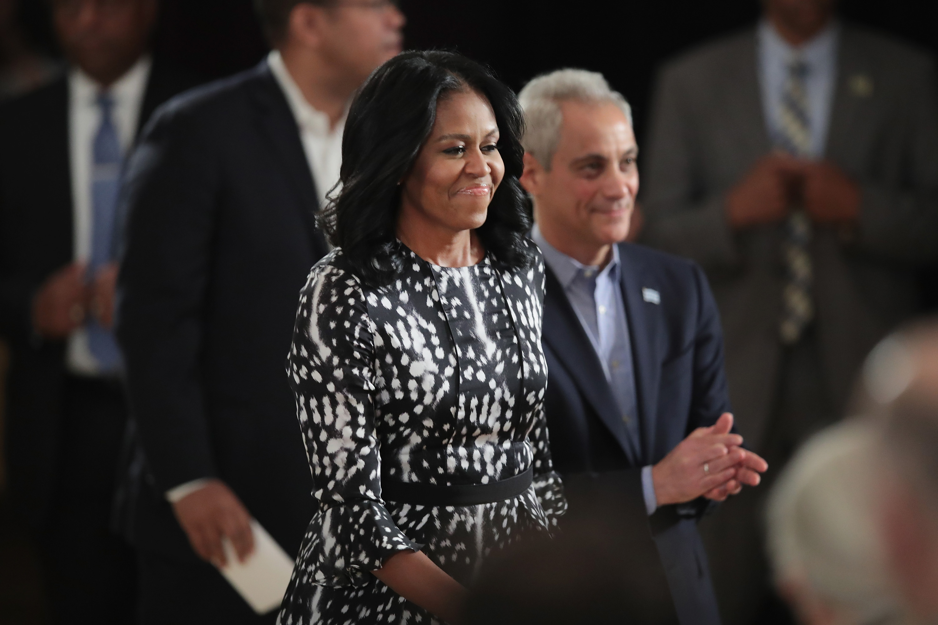 Former first lady Michelle Obama and Chicago Mayor Rahm Emanuel arrive for a roundtable discussion at the South Shore Cultural Center about the Obama Presidential Center, which is scheduled to be built in nearby Jackson Park, on May 3, 2017 in Chicago, Illinois. The Presidential Center design envisions three buildings, a museum, library and forum.