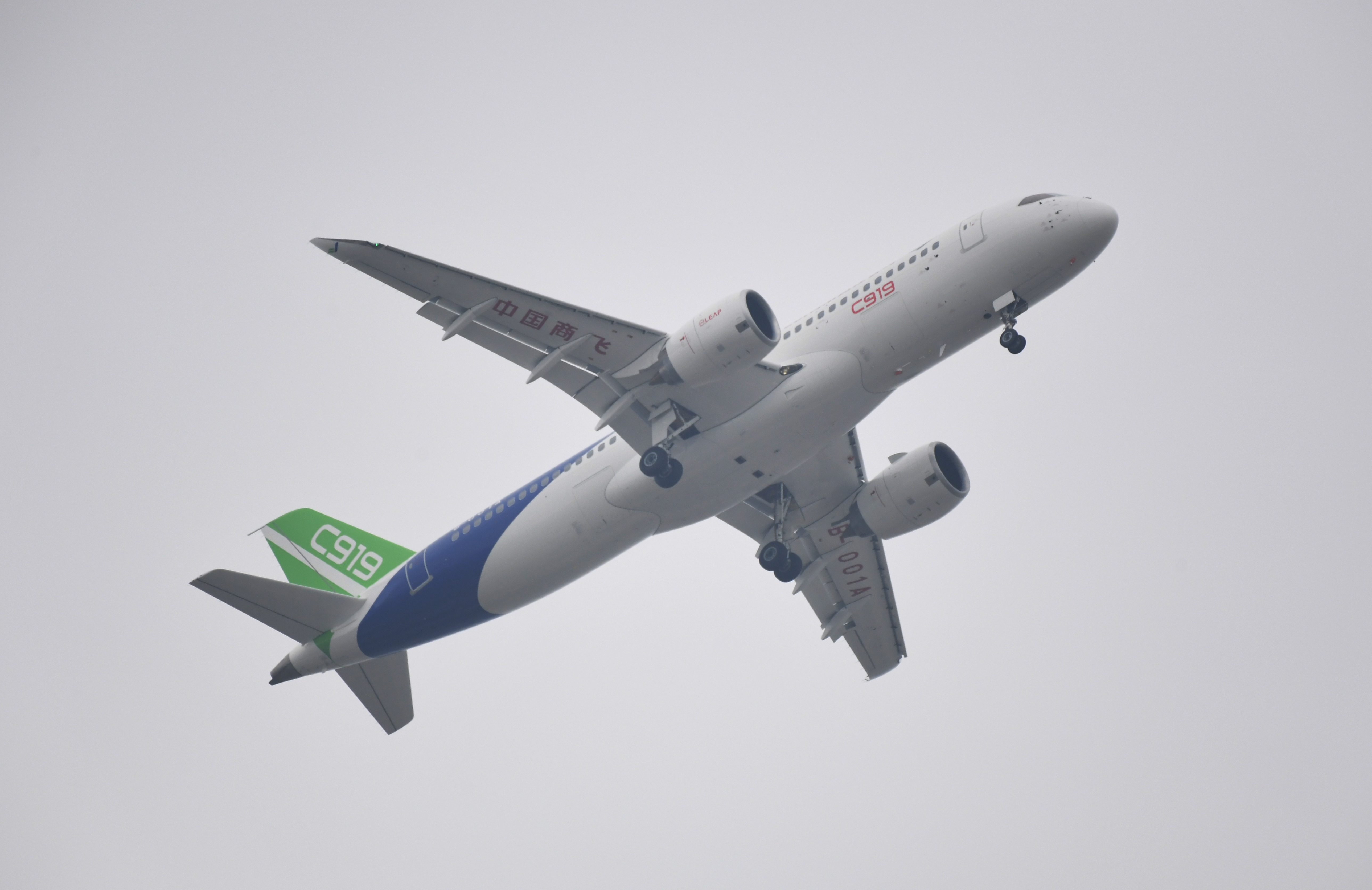 China's home-grown C919 passenger jet takes off from Pudong International Airport in Shanghai on May 5, 2017.