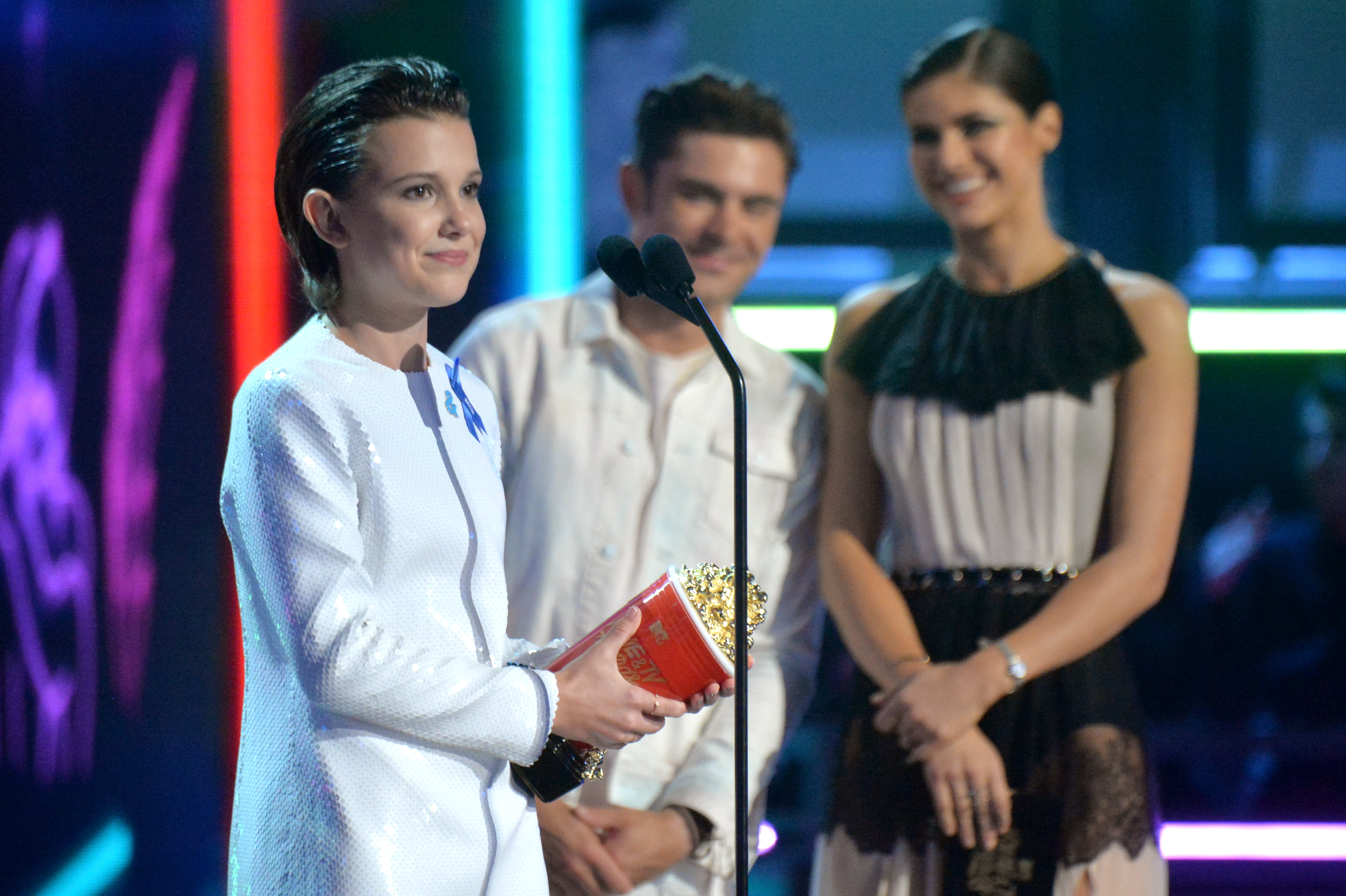 Millie Bobby Brown accepts the award for Best Actor in a Show during the 2017 MTV Movie And TV Awards on May 7, 2017 in Los Angeles, California.